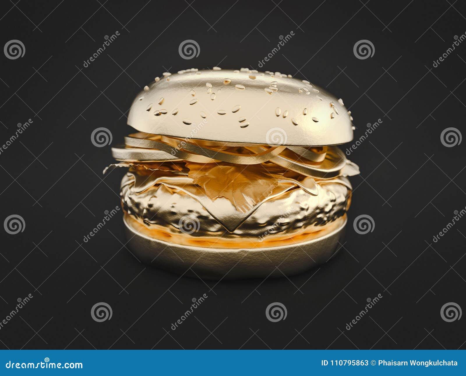 Золото гамбургера на черной предпосылке