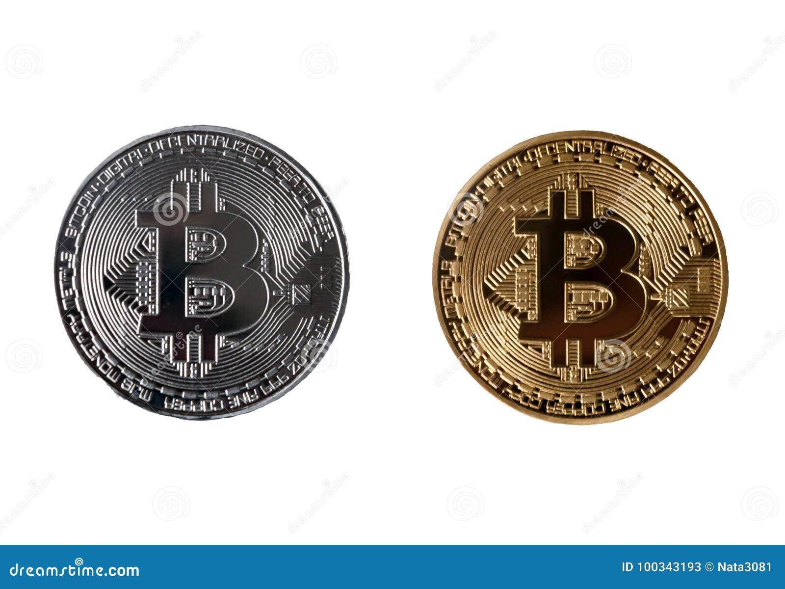 Золото и серебряные монеты Bitcoin изолированное на белизне