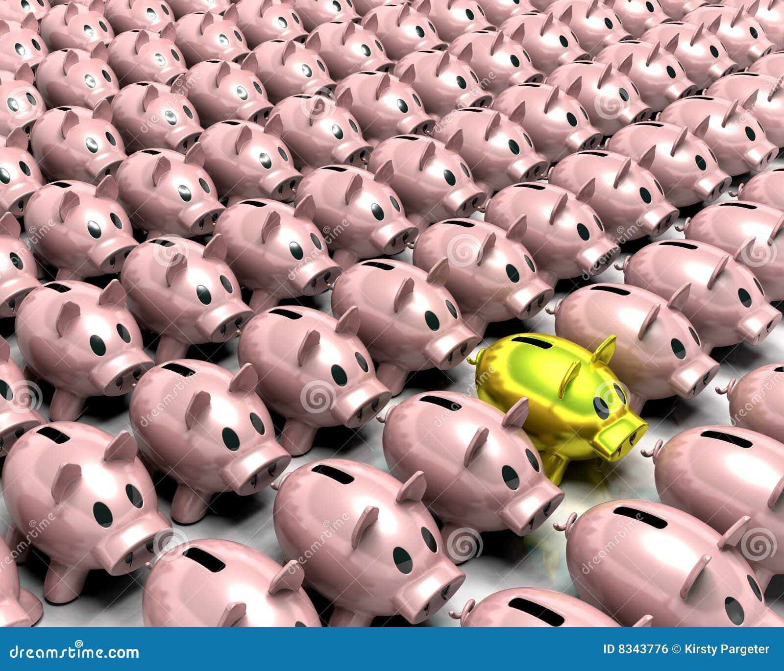 золото толпы банка piggy