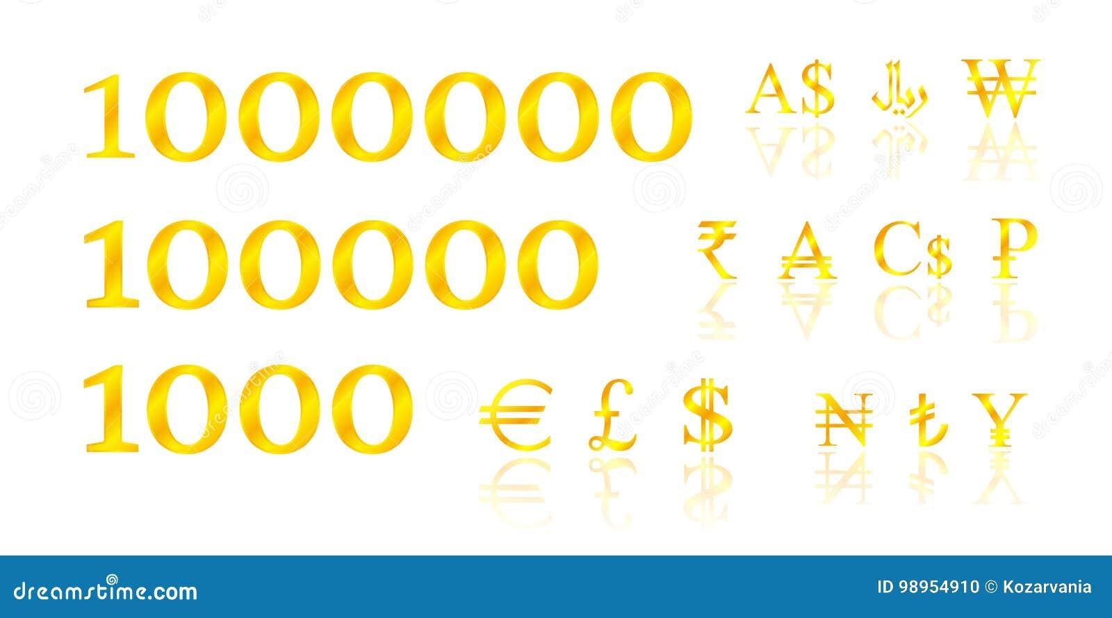 Золотые деньги символов