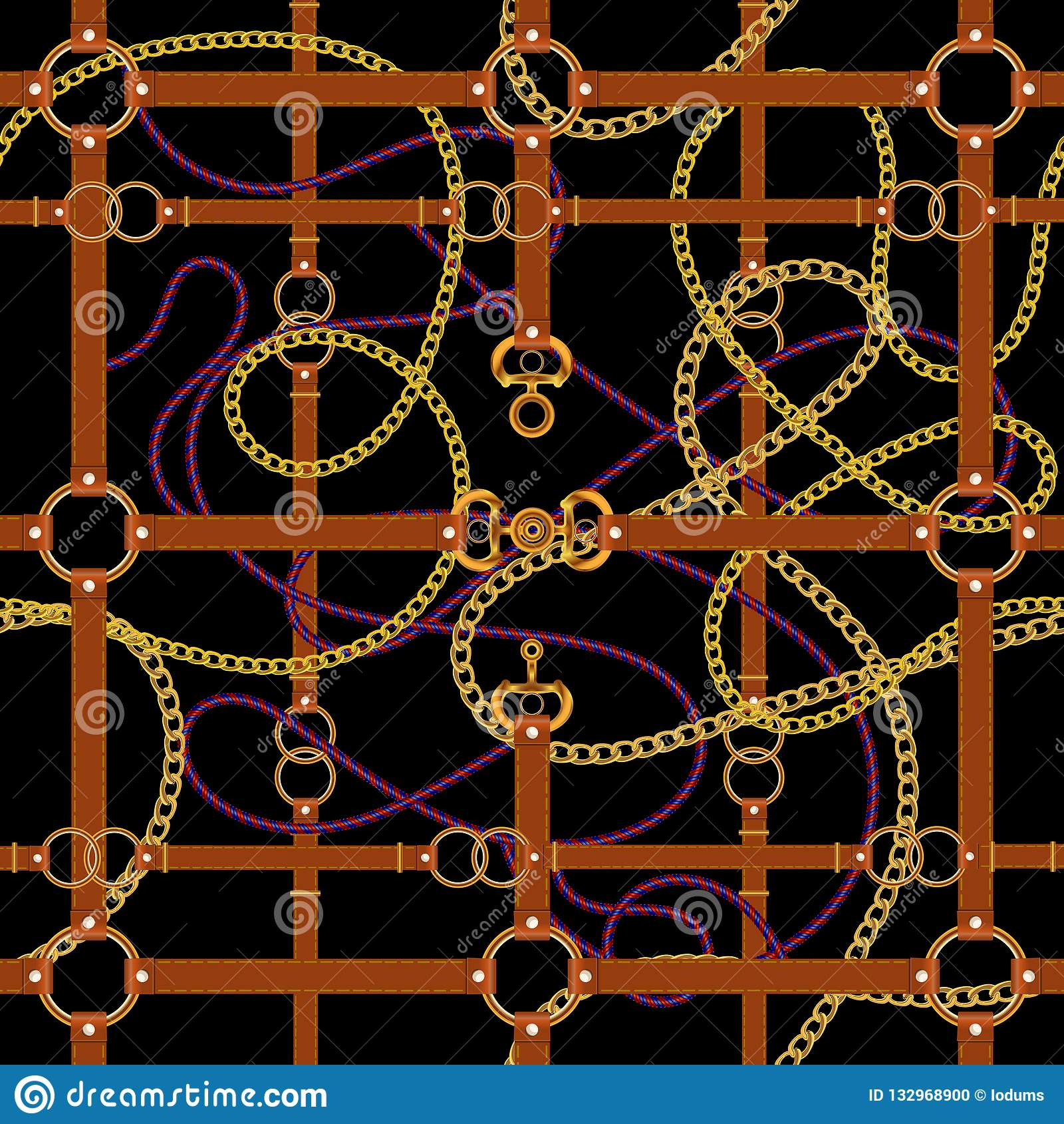 Золотые цепи и поясы Безшовная картина для шарфов, печать, ткань