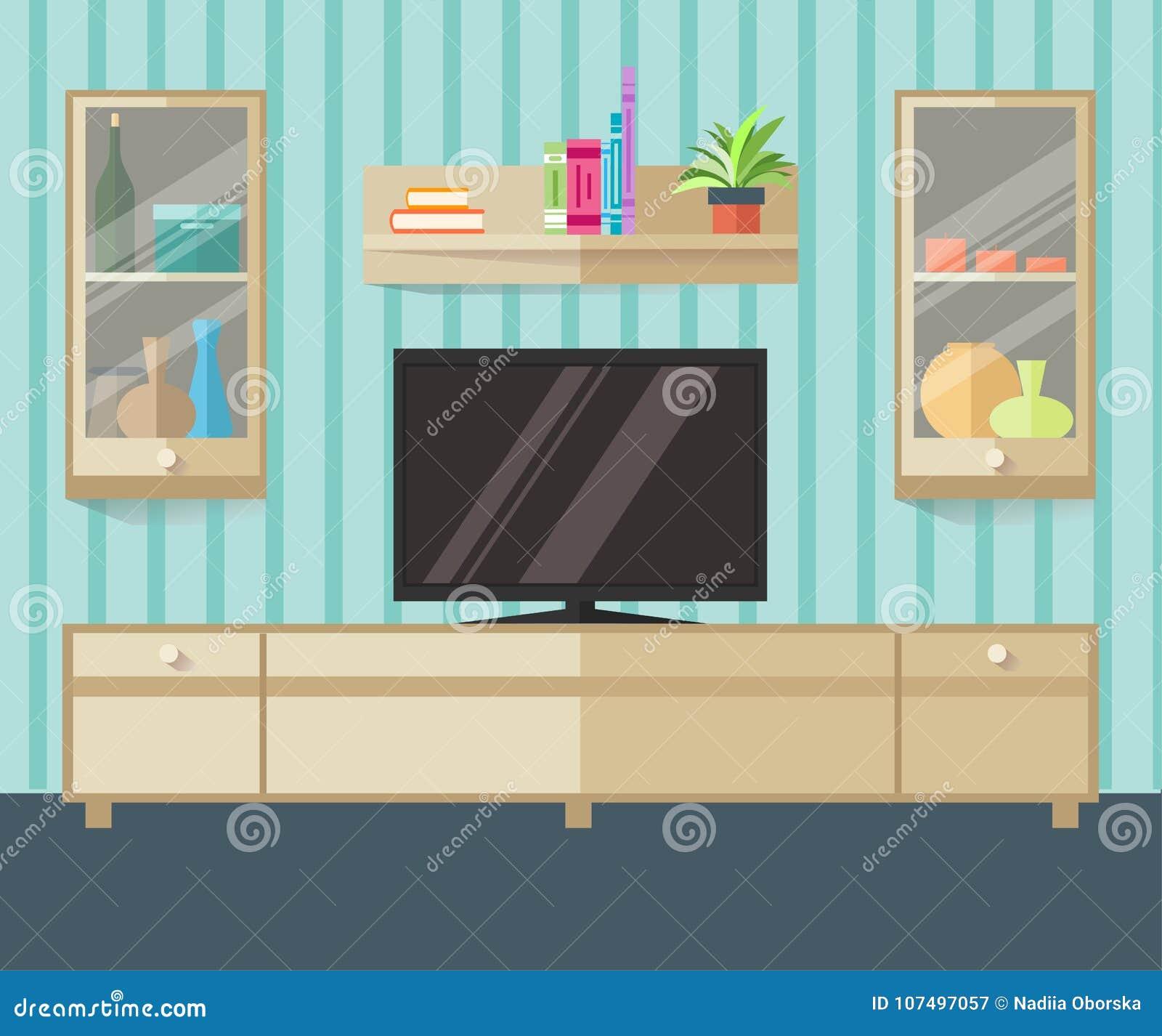 Зона ТВ дизайна в плоском стиле Внутренняя живущая комната с мебелью, ТВ и полкой также вектор иллюстрации притяжки corel