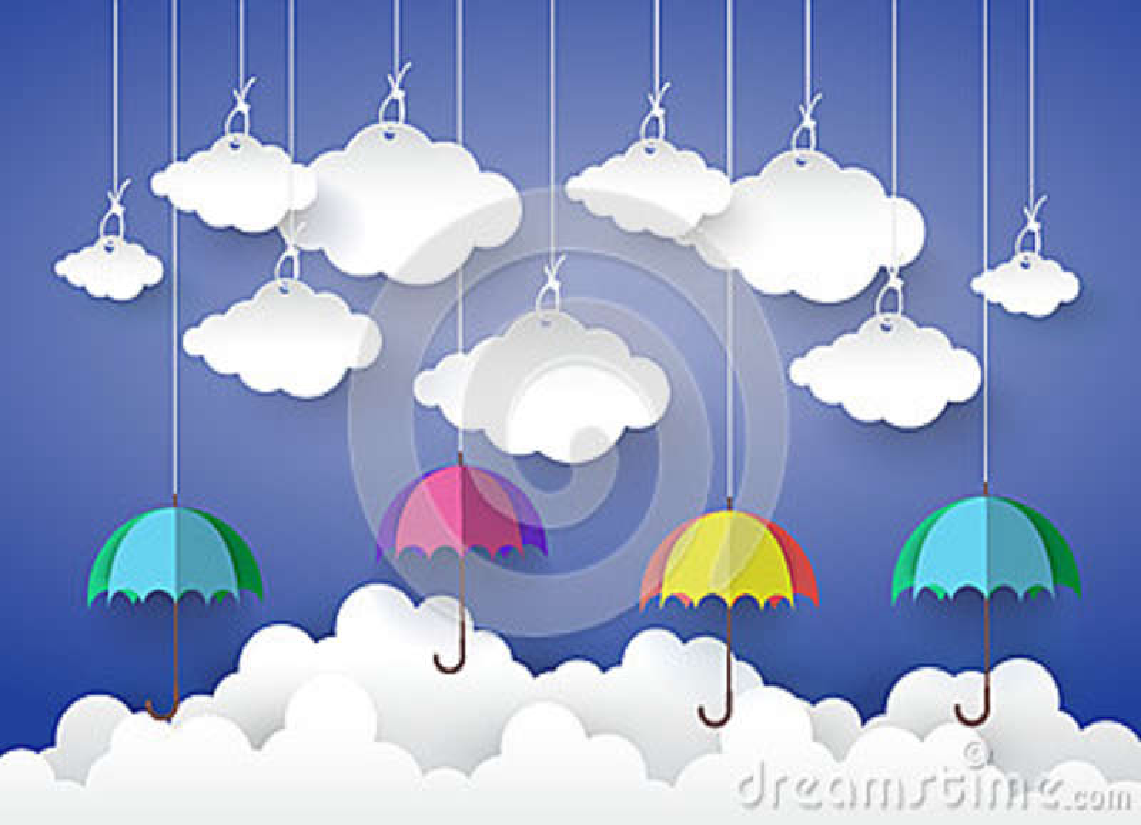 Открытка зонтики объемные с облаками, андроид