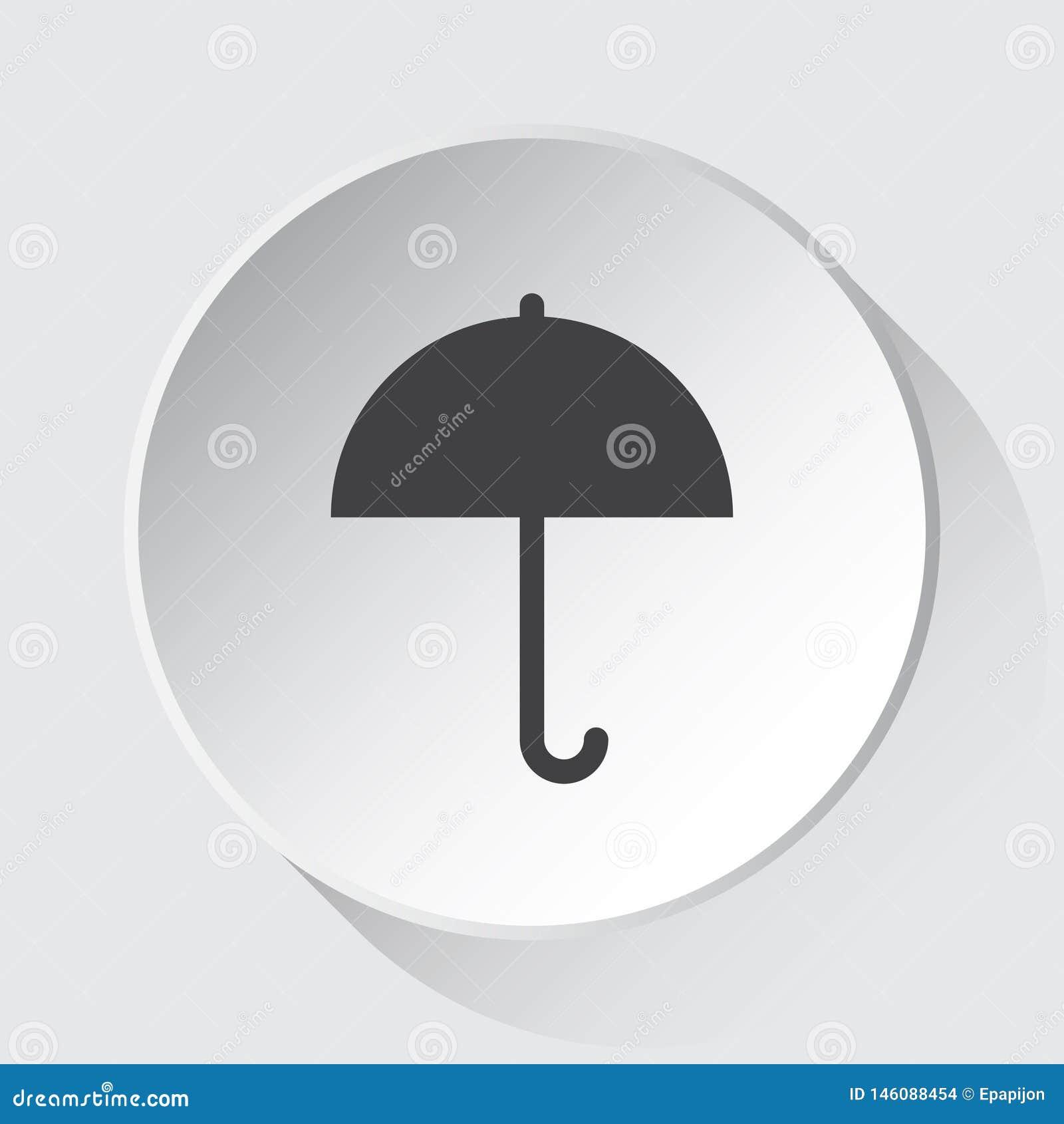 Зонтик - простой серый значок на белой кнопке