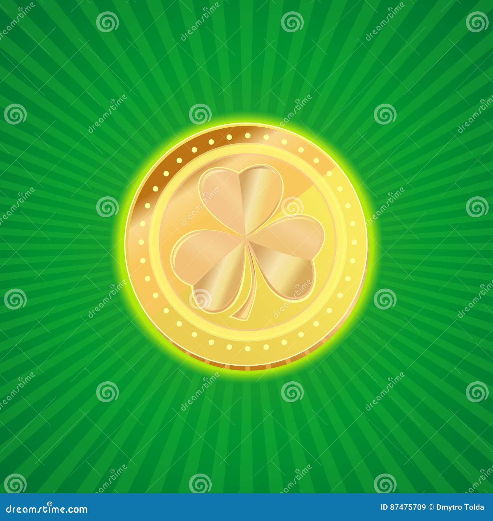 Золотая монетка с изображением клевера shamrock на винтажной предпосылке Элемент дизайна на день St Patricks