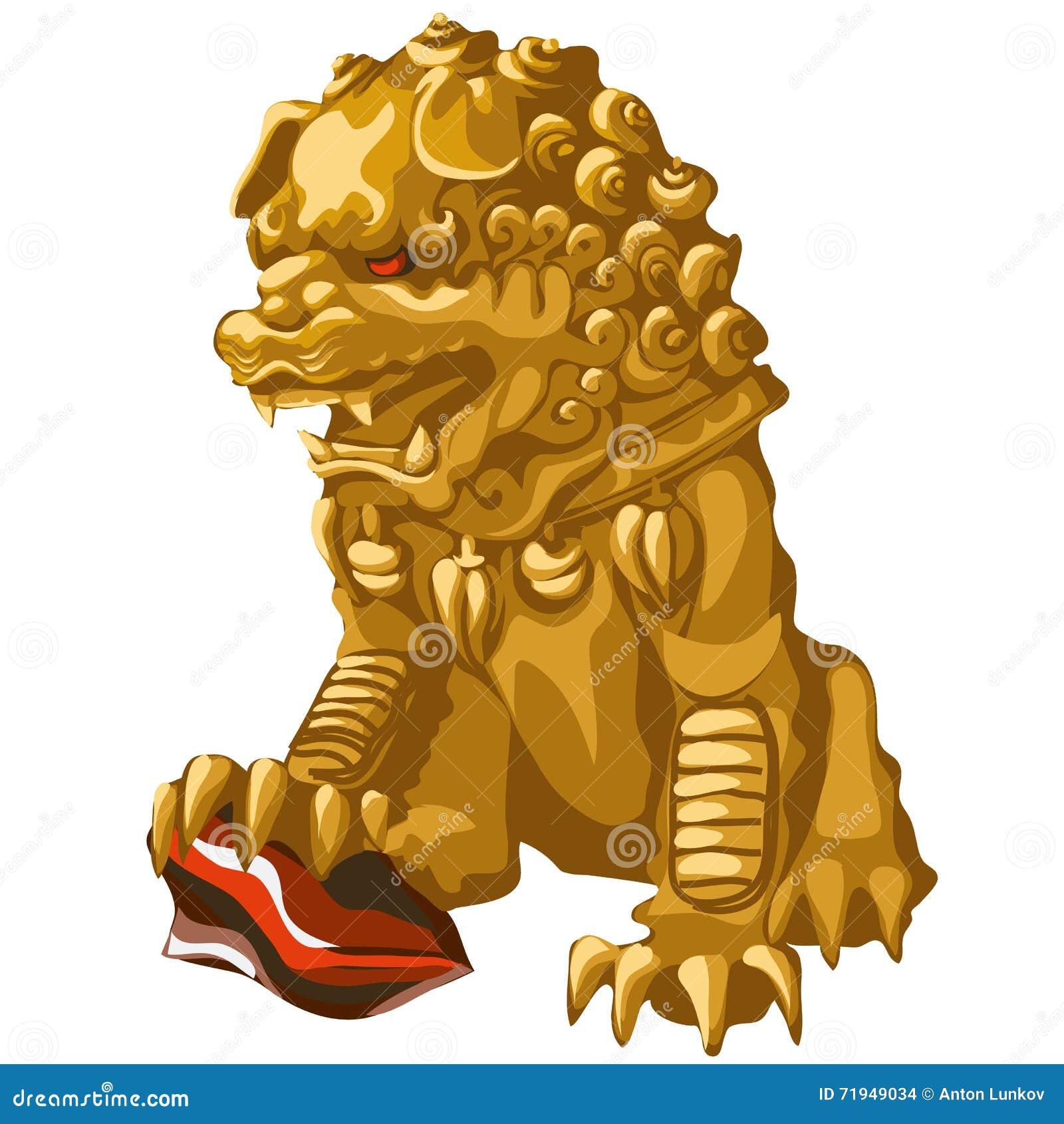 Золотая статуя льва с красным цветом наблюдает в азиатском стиле