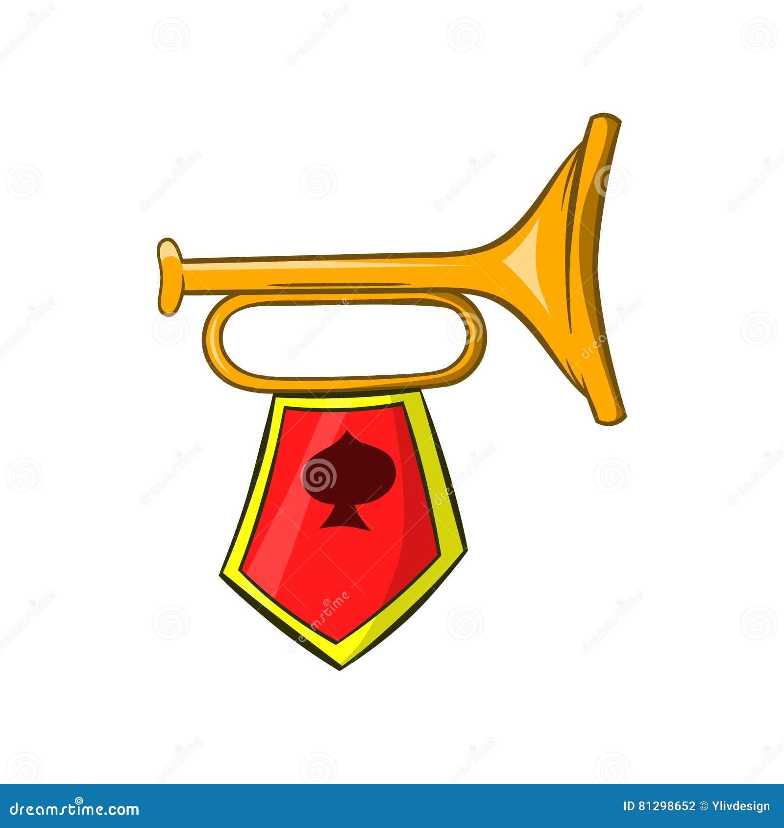 Золотая труба с значком эмблемы революции, стиль шаржа