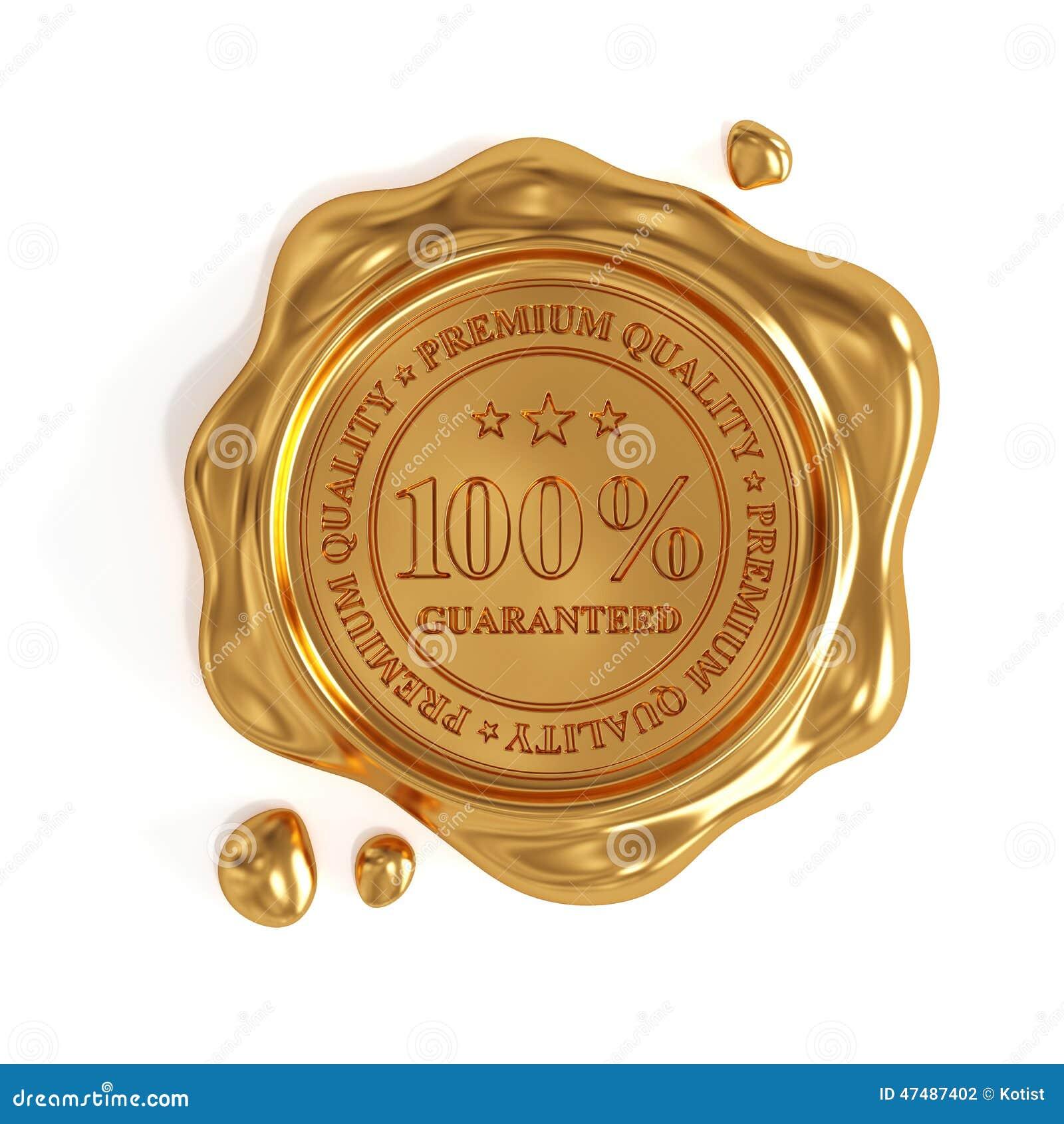 Золотое уплотнение воска изолированный штемпель 100 процентов наградной качественный
