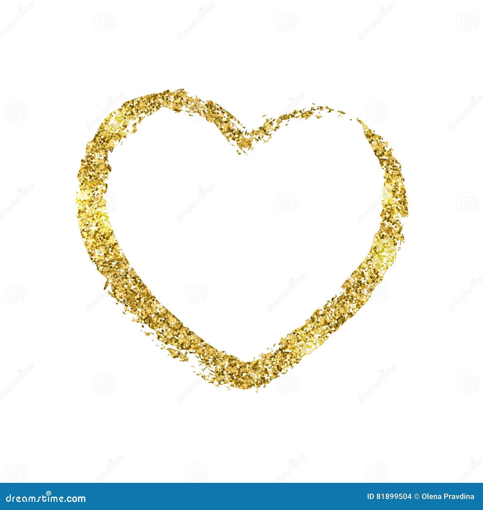 Золотой brushstroke в форме сердца Текстура яркого блеска сияющая