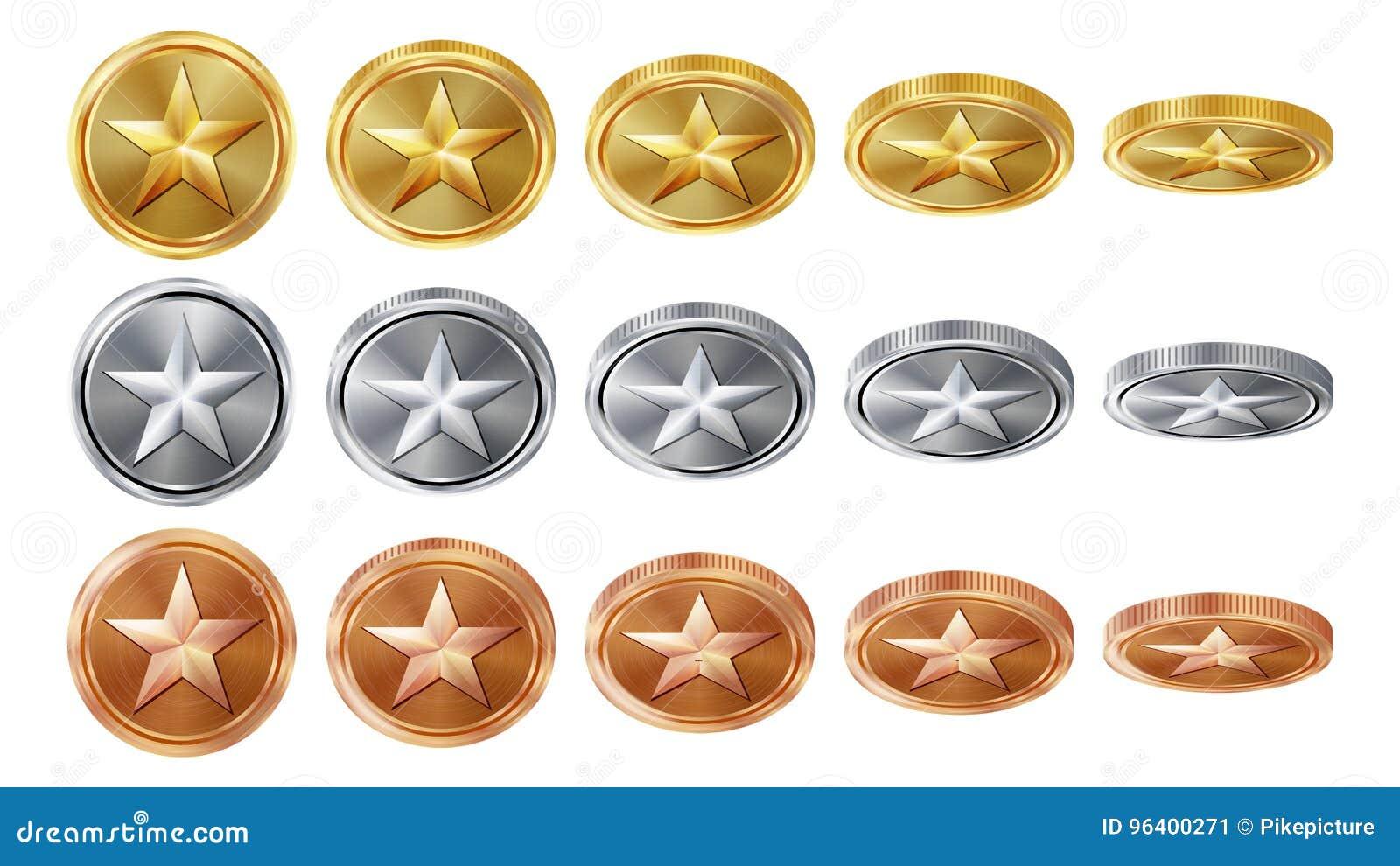 Золото игры 3D, серебр, бронзовые монетки установило вектор с звездой Углы сальто различные Значки монетки достижения, знак, успе