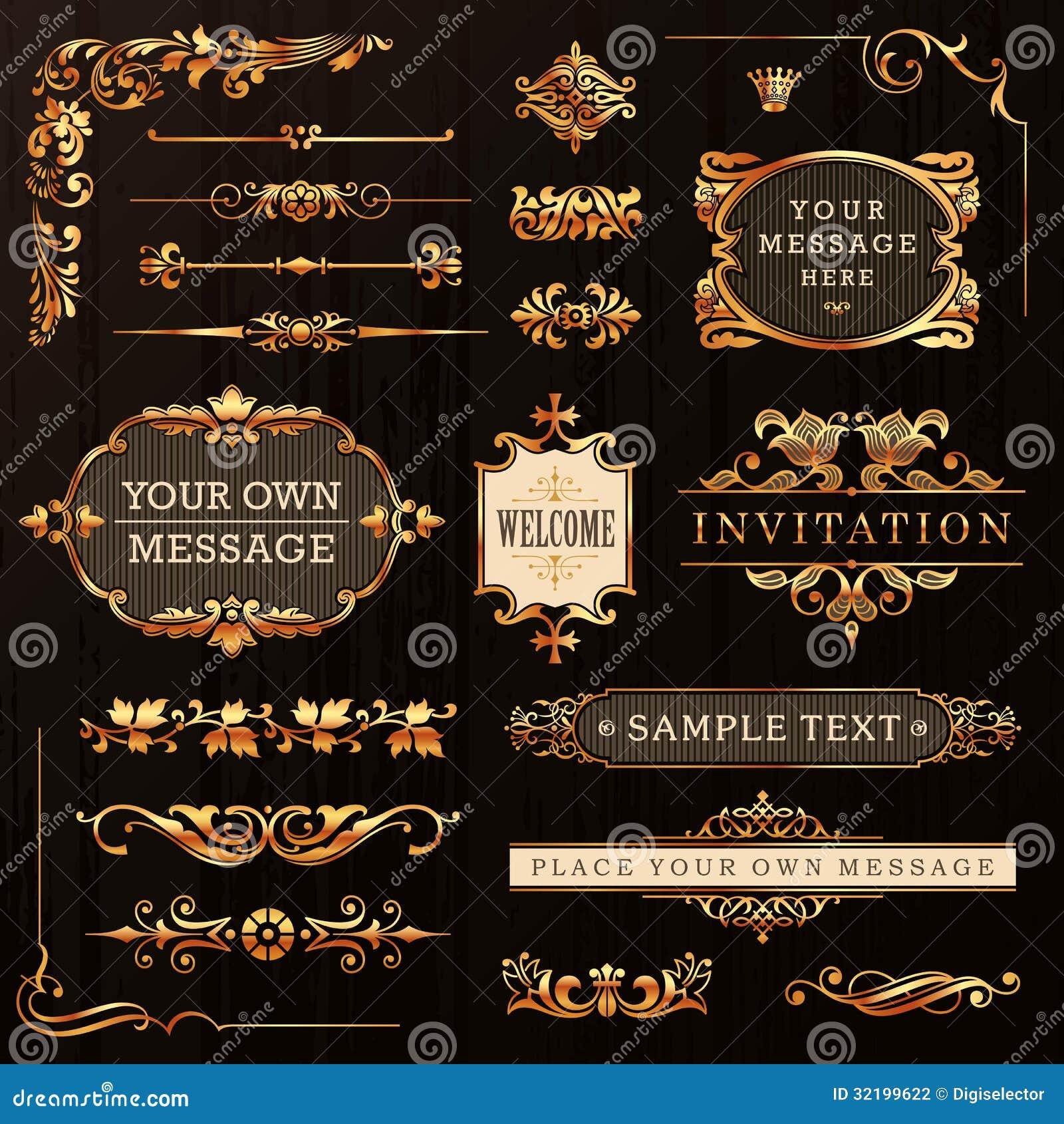 Золотые каллиграфические элементы дизайна