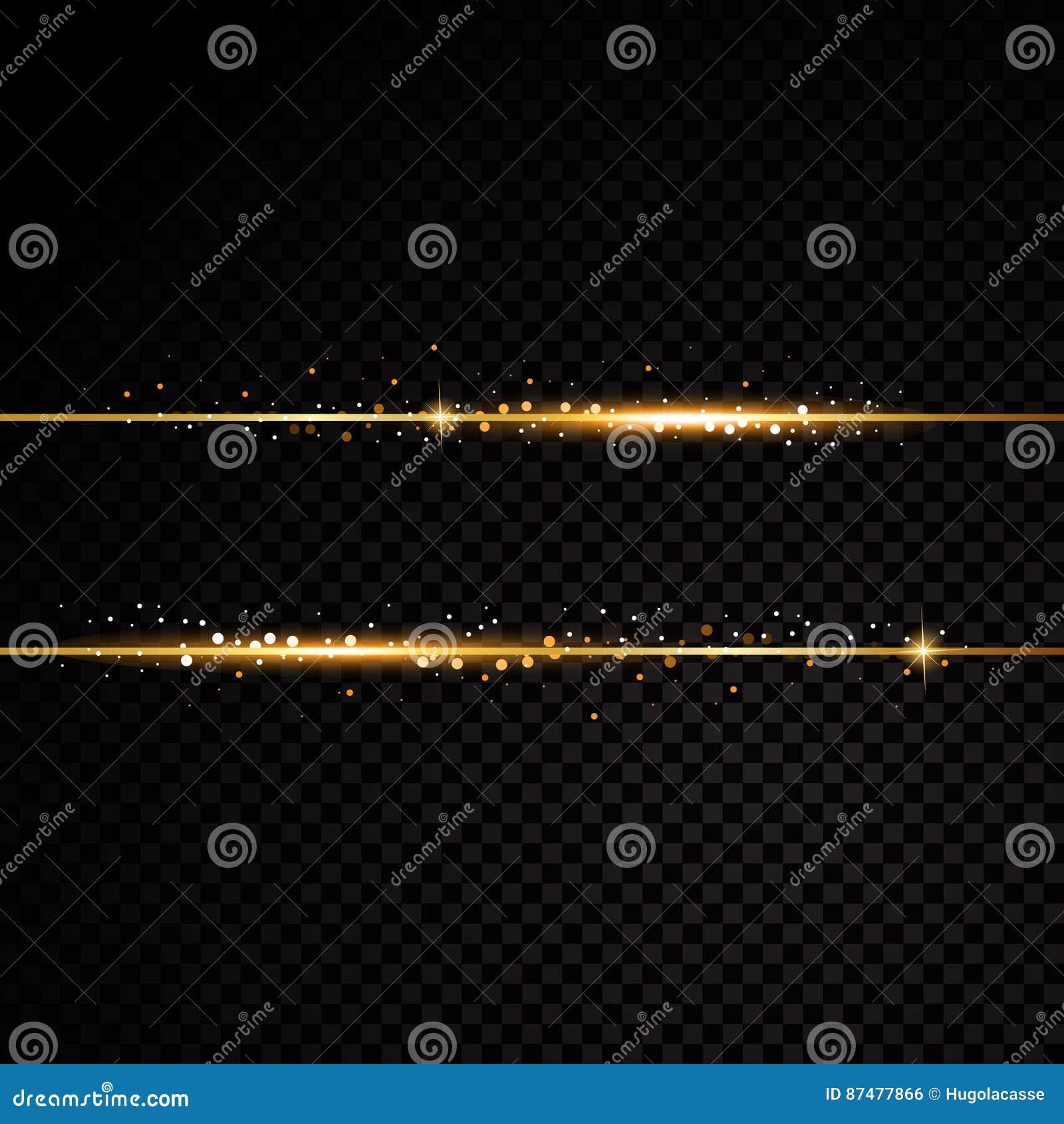 2 золотых линии с световыми эффектами на черной прозрачной предпосылке также вектор иллюстрации притяжки corel