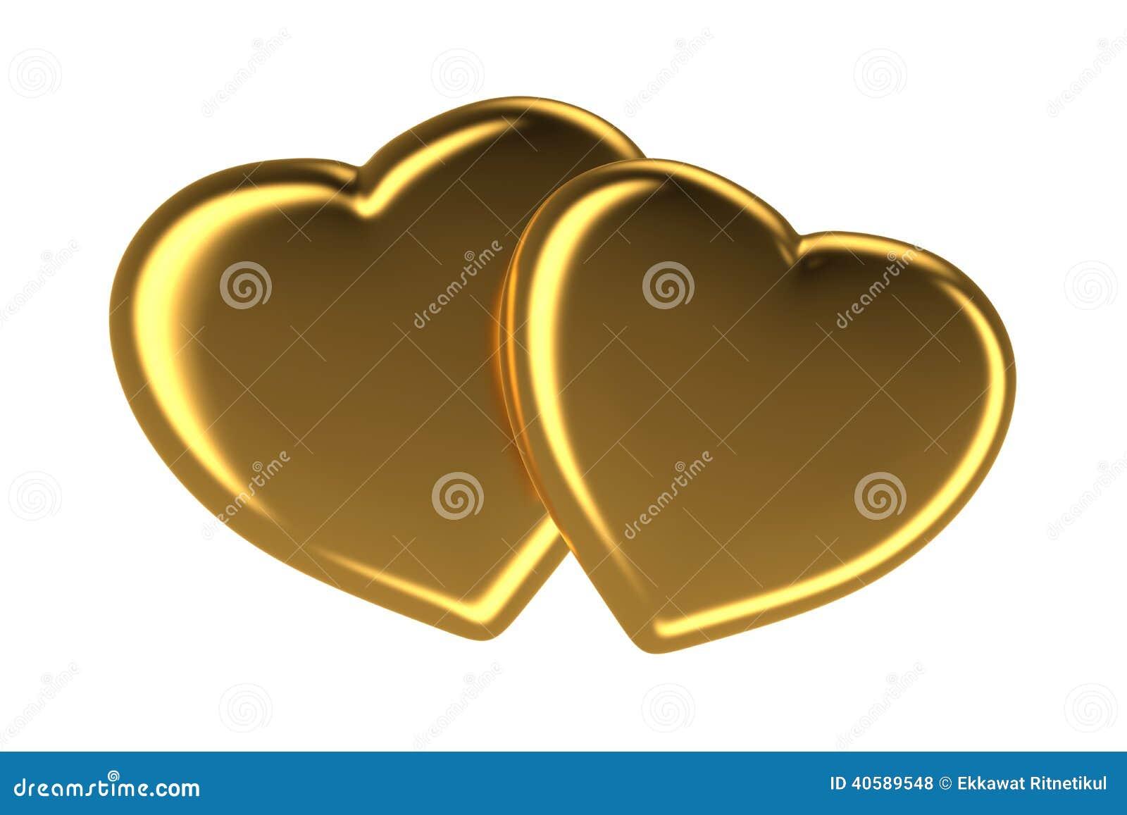 2 золотых сердца изолированного на белизне, 3d представленное изображение