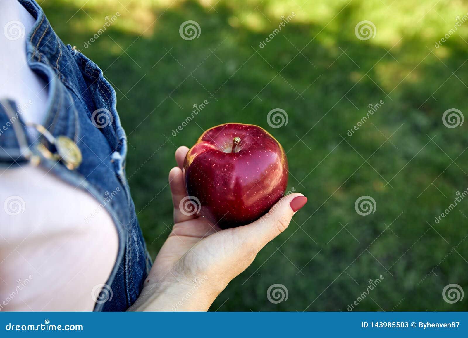 Зрелое красное яблоко в руке