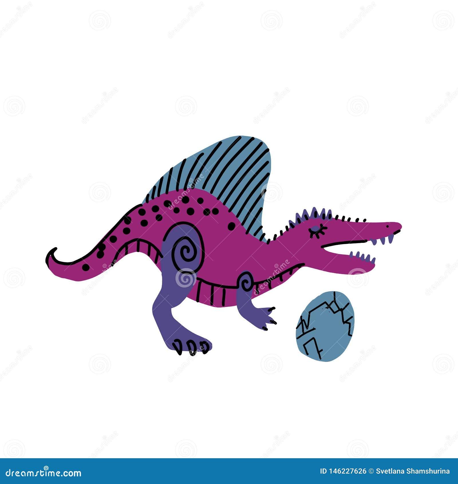 Зубастый динозавр с характером вектора руки цвета яйца вычерченным Милая линия и плоский динозавр Гад эскиза юрский Изолированный