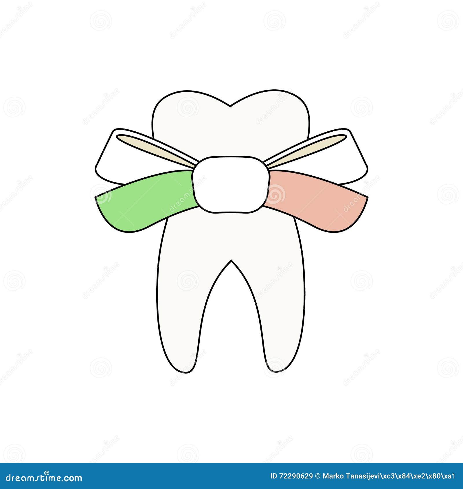 Download Зуб с смычком иллюстрация вектора. иллюстрации насчитывающей болезнь - 72290629