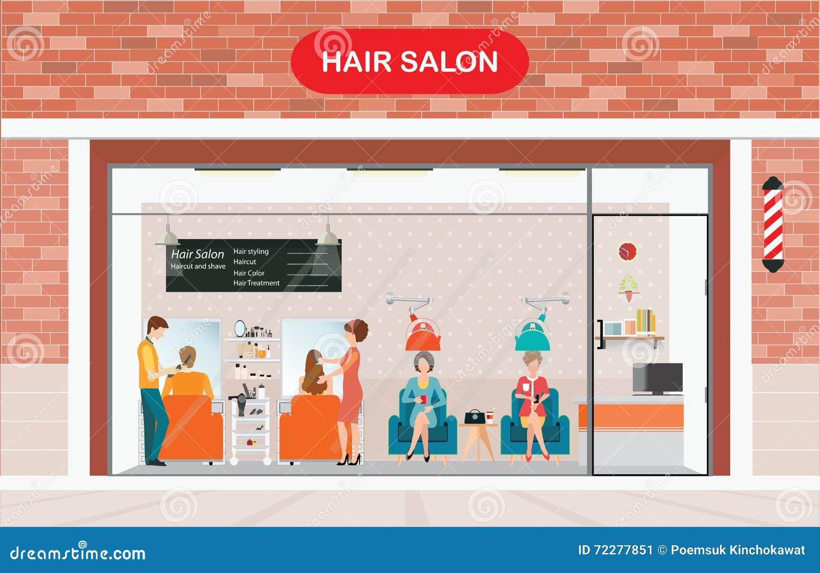Download Здание и интерьер парикмахерской с клиентом Иллюстрация вектора - иллюстрации насчитывающей строя, brusher: 72277851