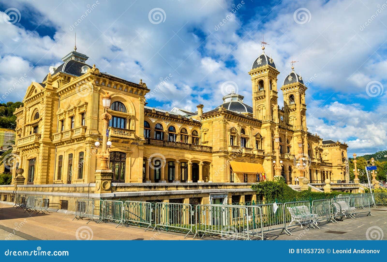 Здание муниципалитет San Sebastian - Donostia, Испании