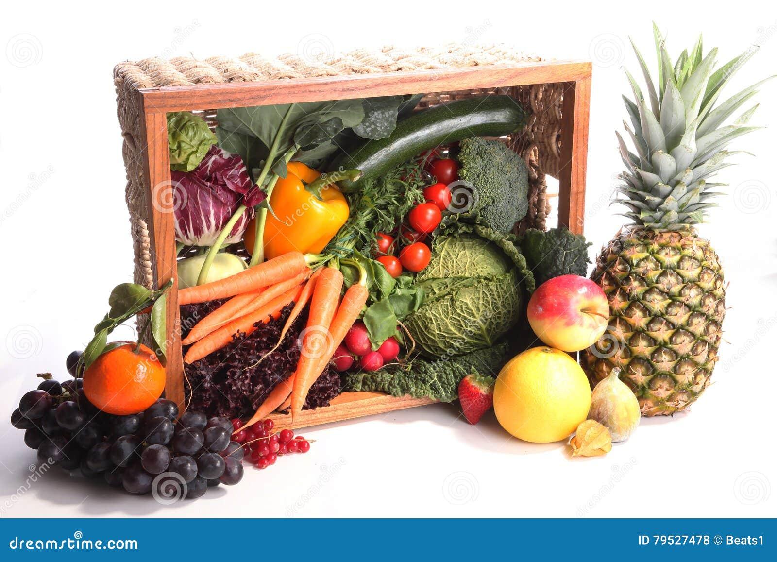 Здоровая предпосылка еды Фрукты и овощи фотографии еды различные изолировали белую предпосылку