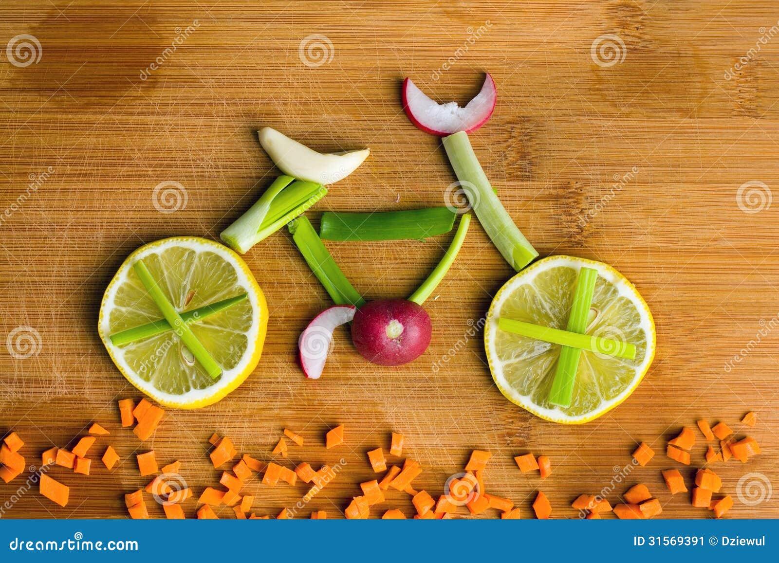 Здоровая принципиальная схема образа жизни - vegetable велосипед