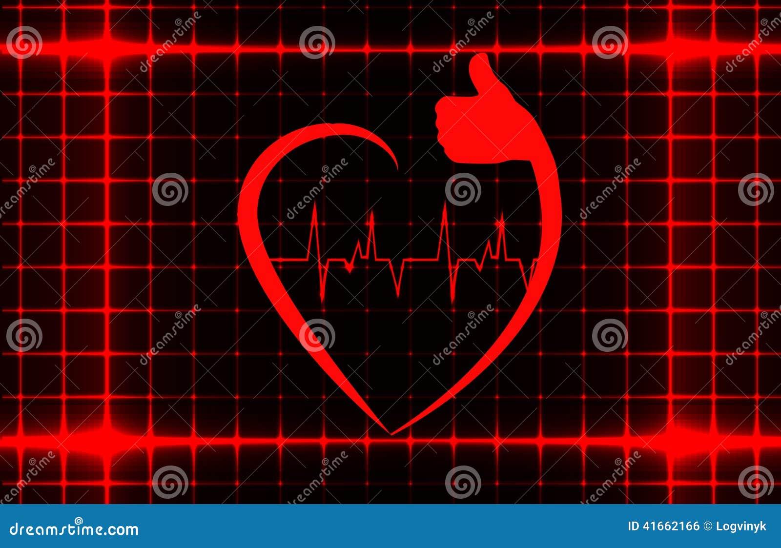 Здоровый знак сердца с ecg на шаблоне крышки