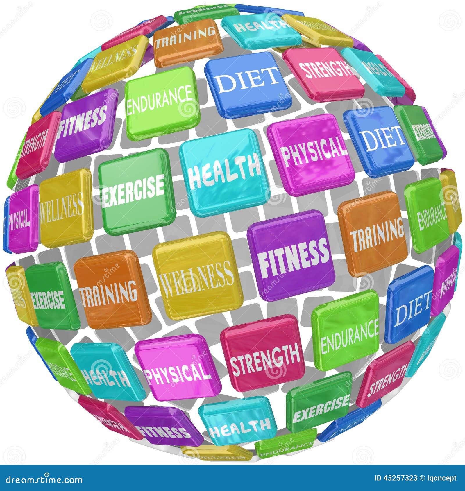 Здоровье тренировки фитнеса физическое формулирует шарик глобуса
