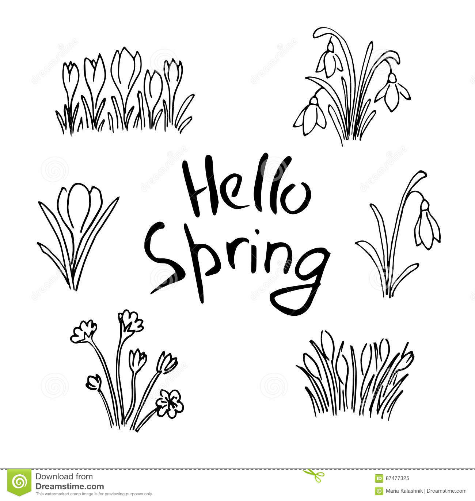 Здравствуйте! комплект эскиза весны Первые цветки и литерность