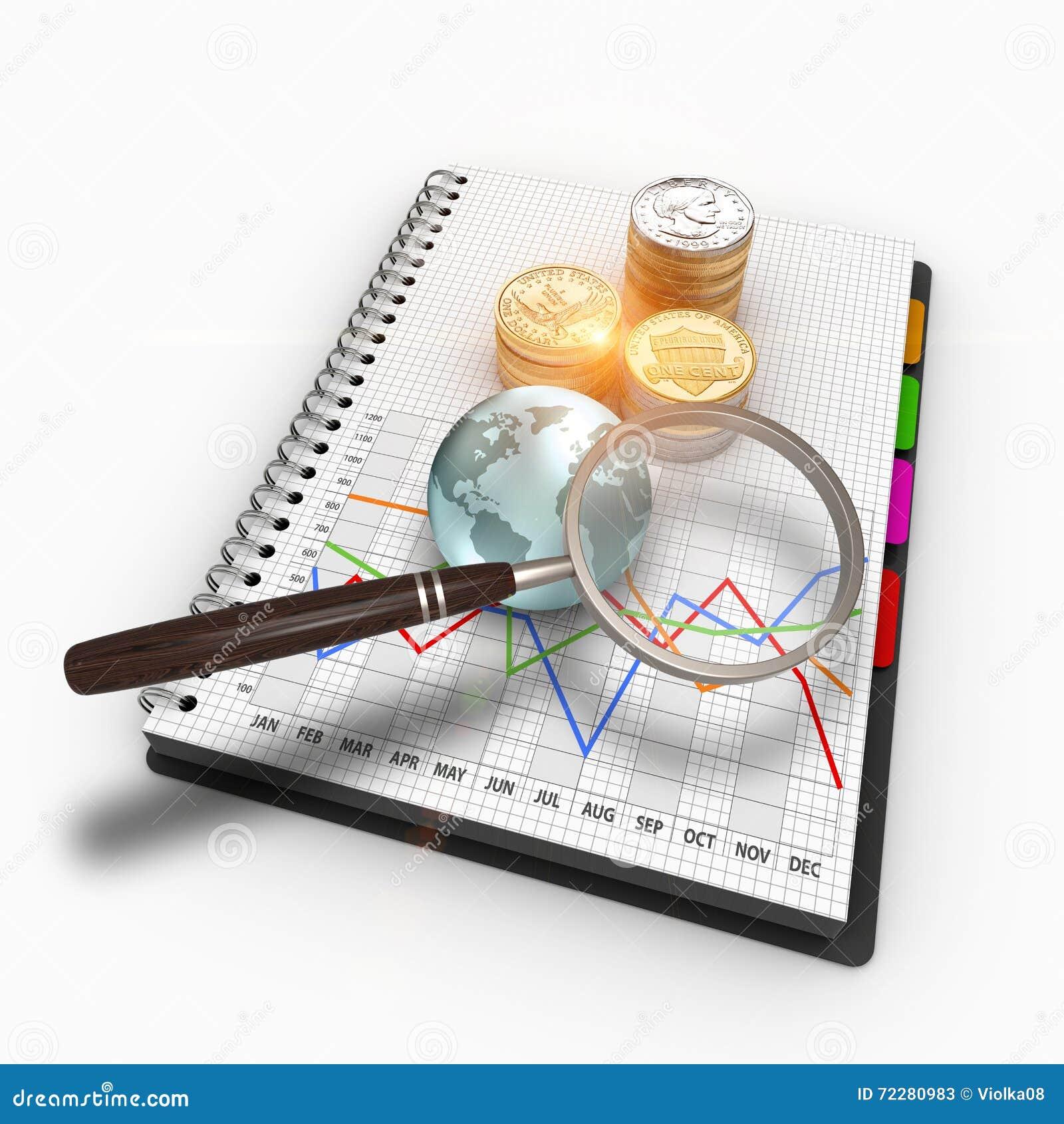 Download диаграмма дела перевода 3D, лупа и стога монеток США Стоковое Изображение - изображение насчитывающей деньги, золотисто: 72280983