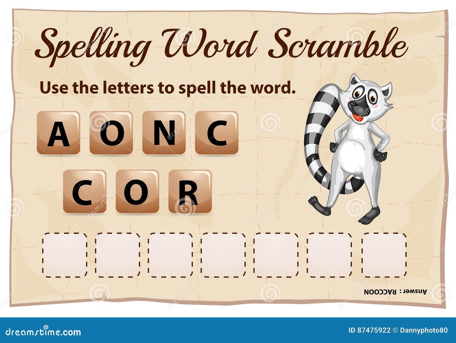 Игра борьбы слова правописания с енотом слова