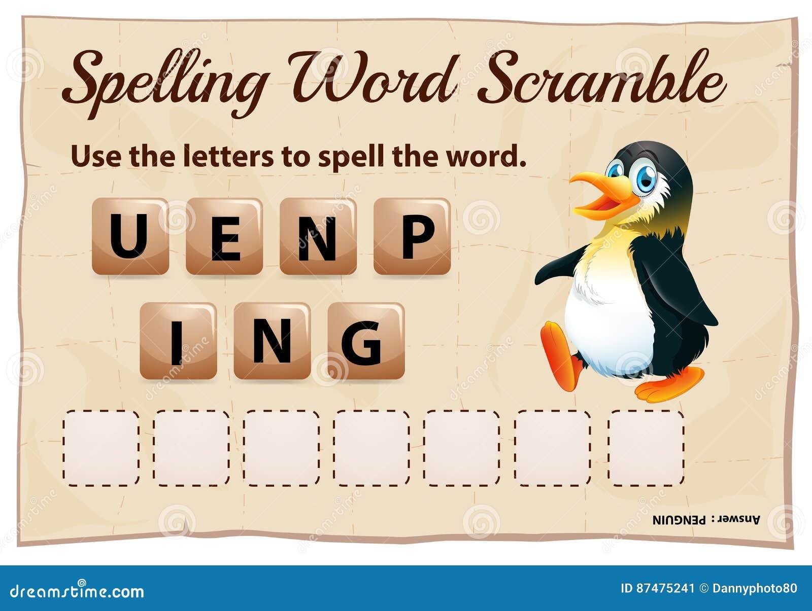 Игра борьбы слова правописания с пингвином слова