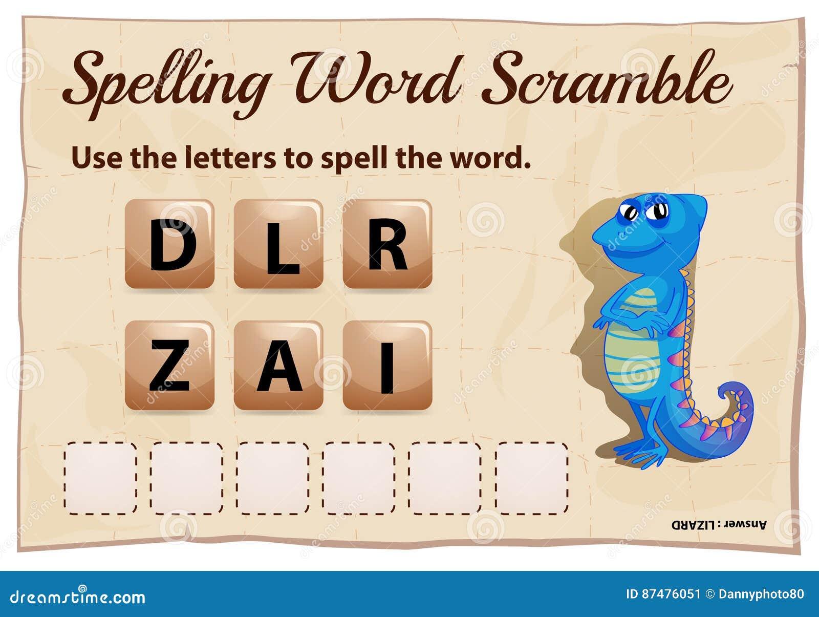 Игра борьбы слова правописания с ящерицей слова