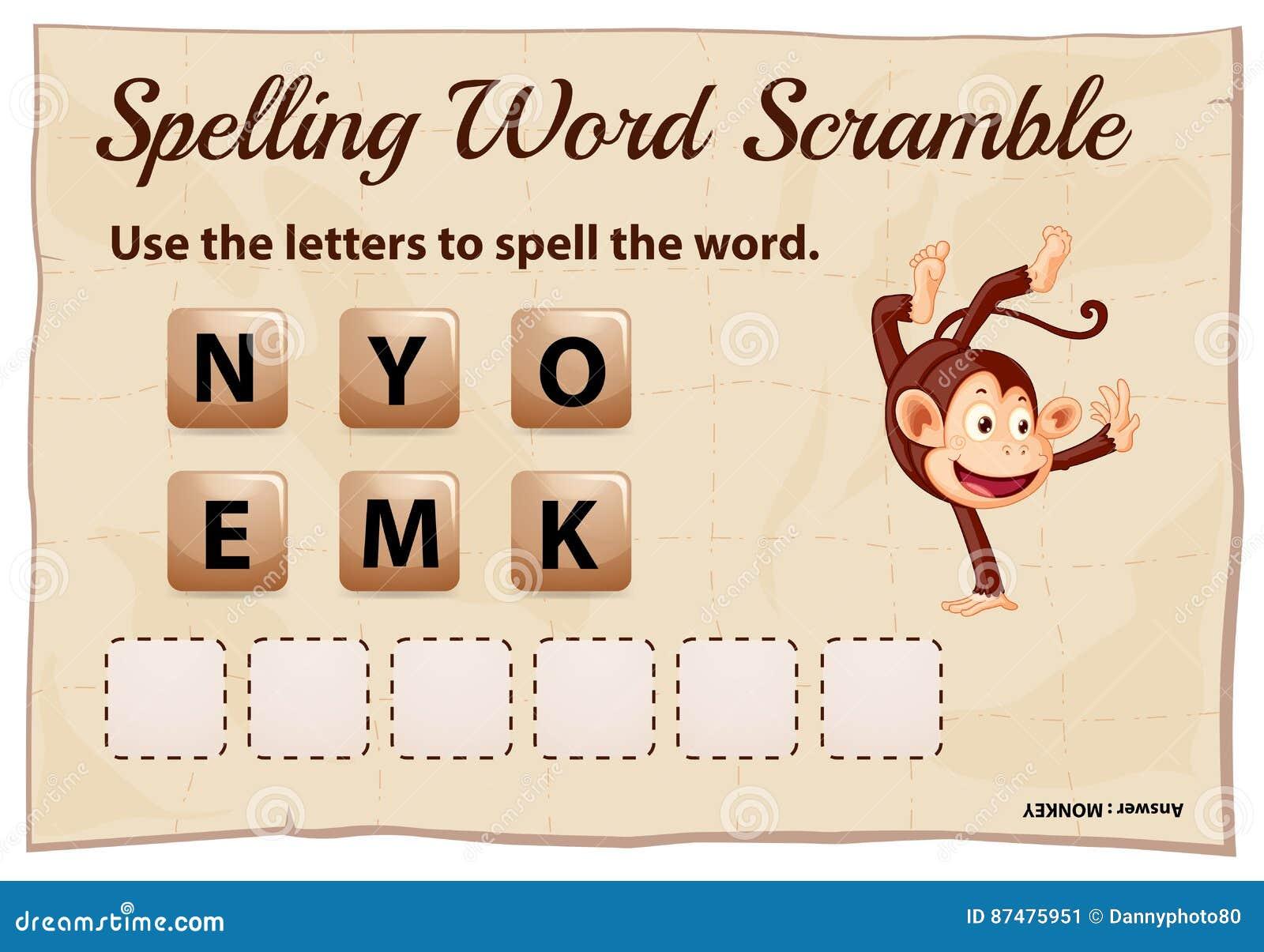 Игра борьбы слова правописания для обезьяны слова
