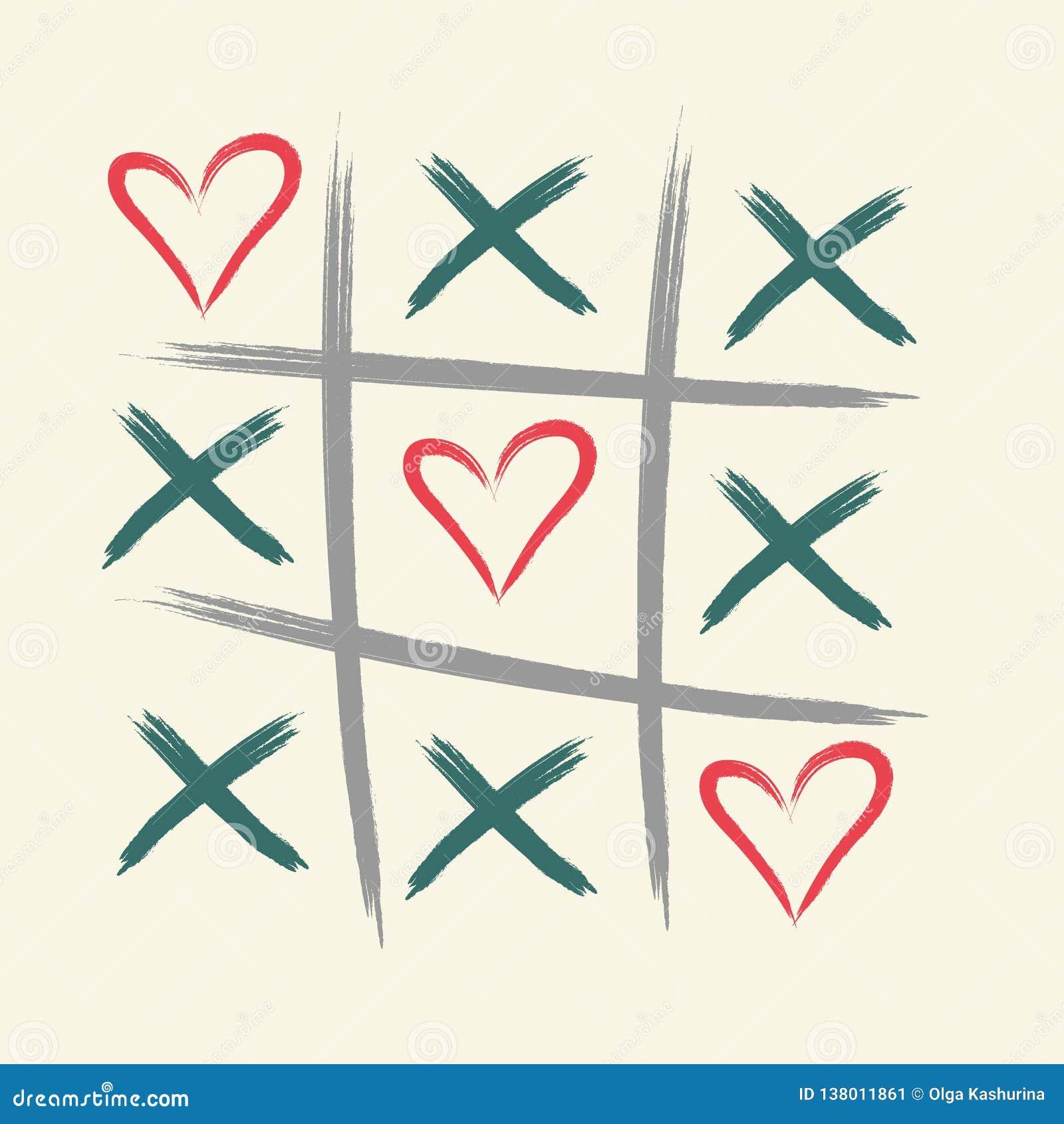 Игра пальца ноги Tic tac с крестом criss и меткой знака сердца XOXO Щетка нарисованная рукой valentines дня карточки счастливые -