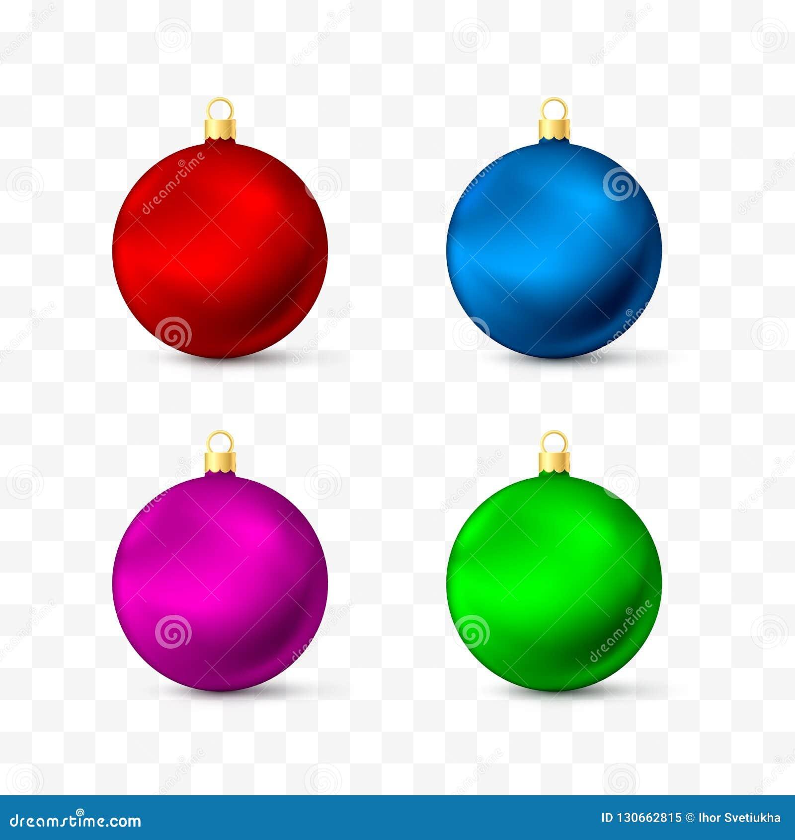 Игрушки и украшения рождества Набор других цветов реалистический Иллюстрация вектора изолированная на прозрачной предпосылке