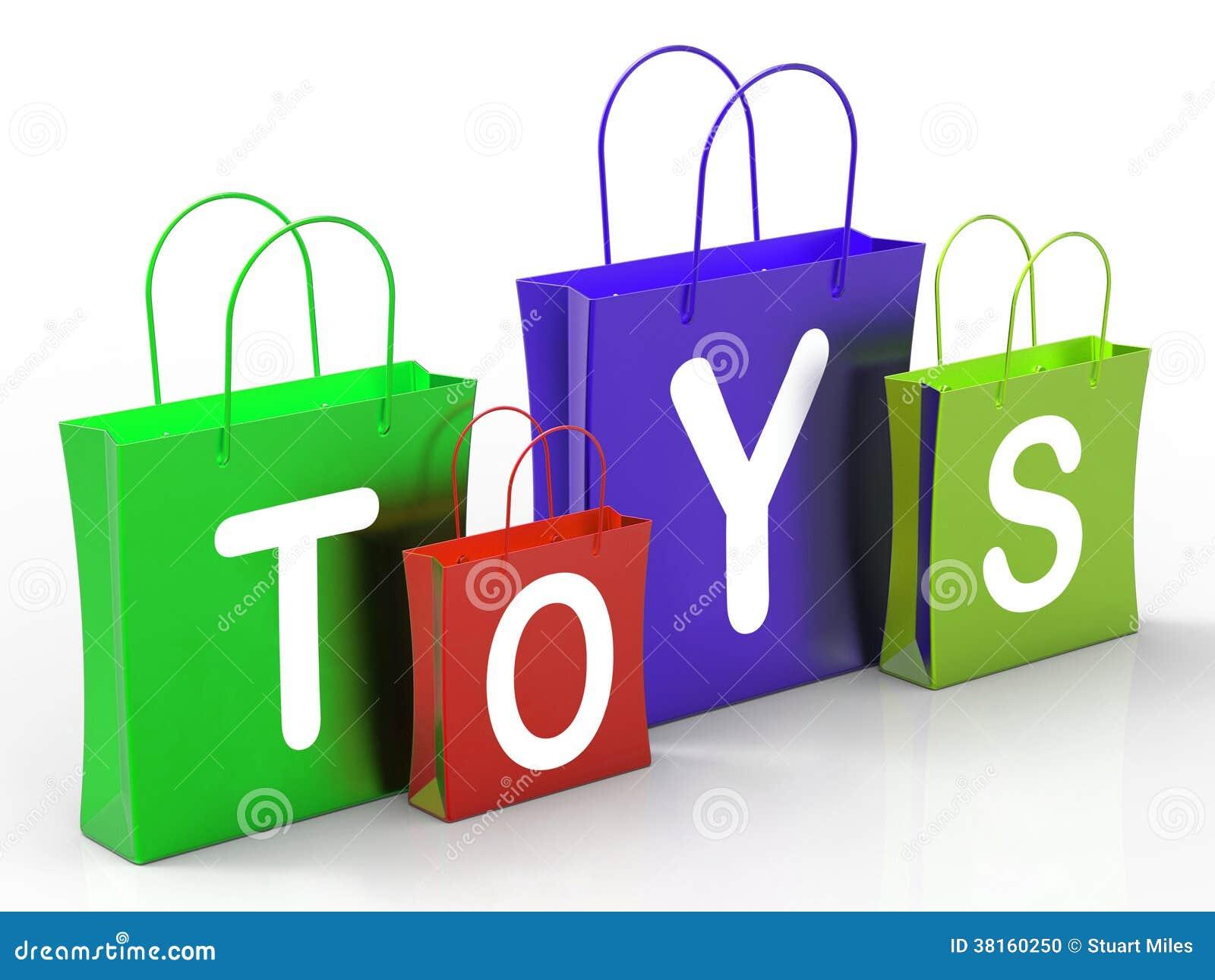 Игрушки кладут покупки и приобретение в мешки выставок розничные