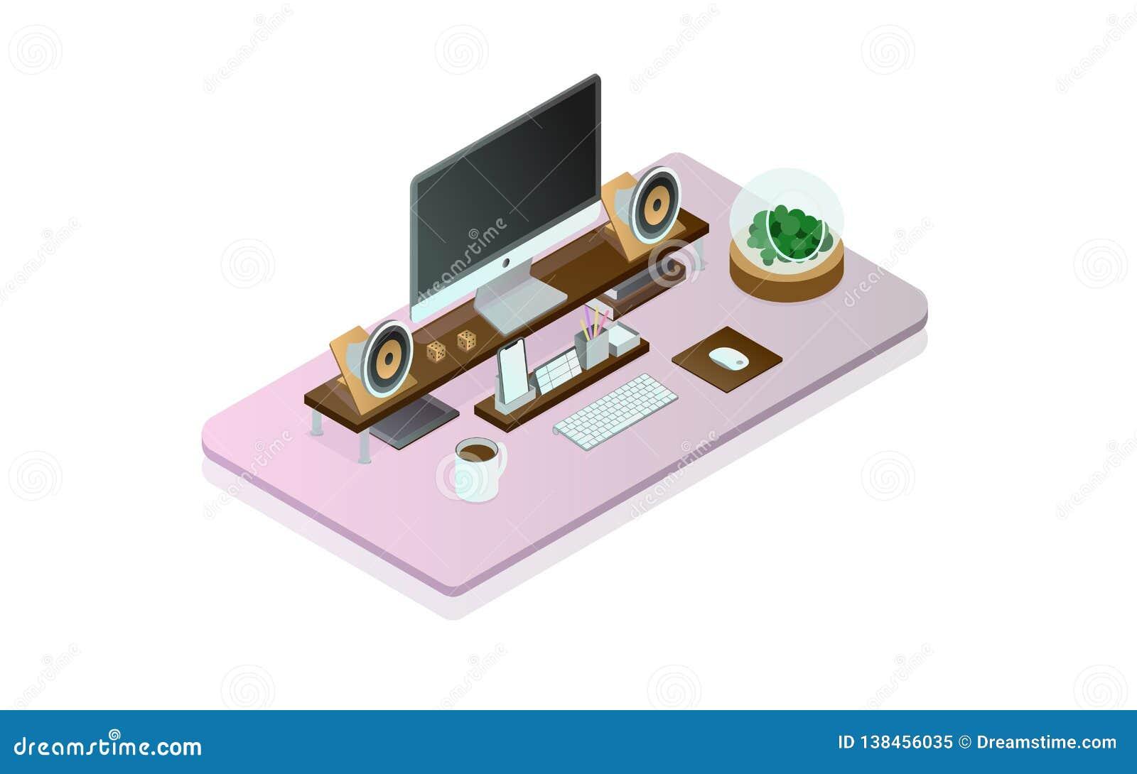 Идеальный стол компьютера isometry