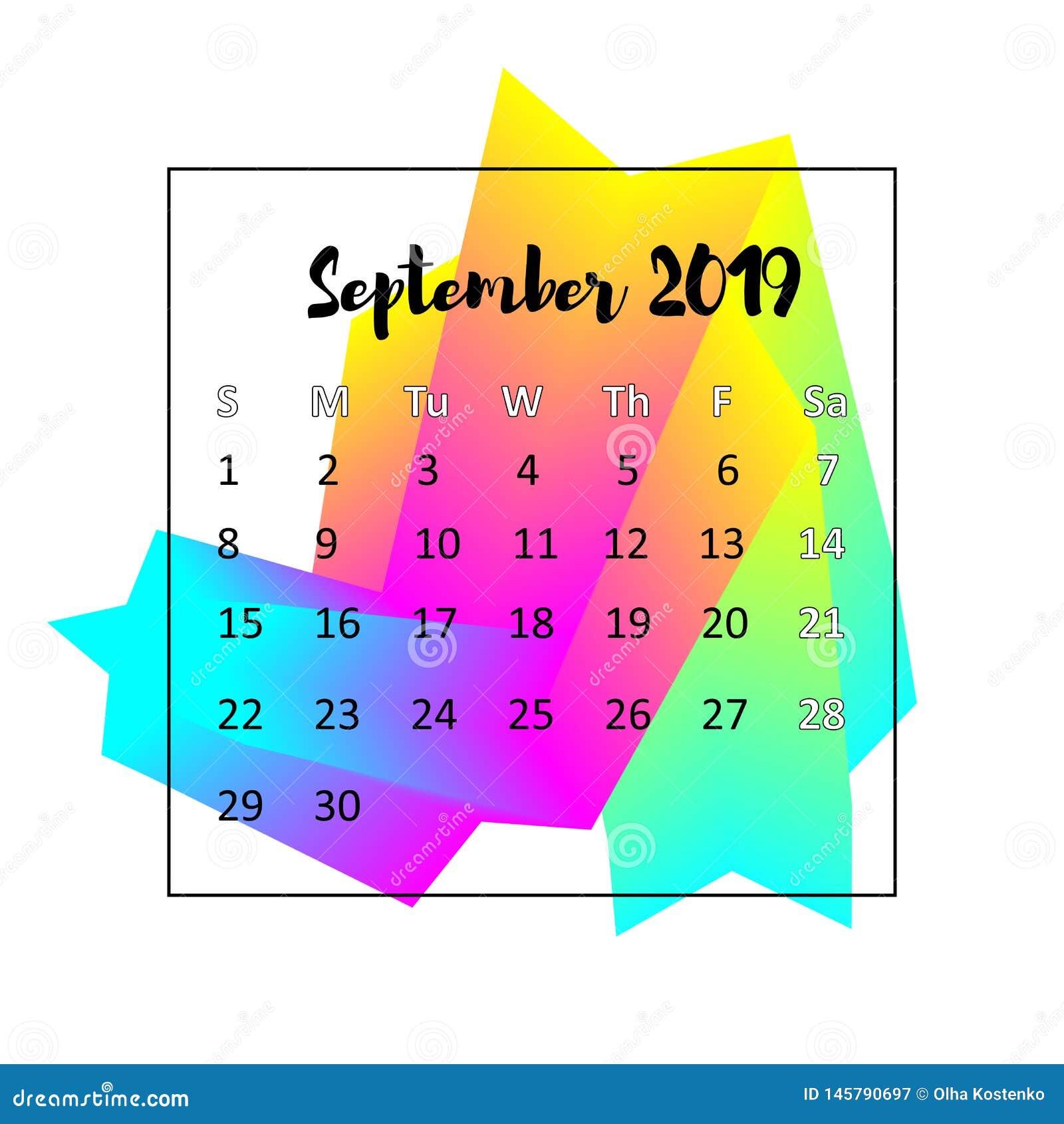Идея проекта 2019 календаря Сентябрь 2019