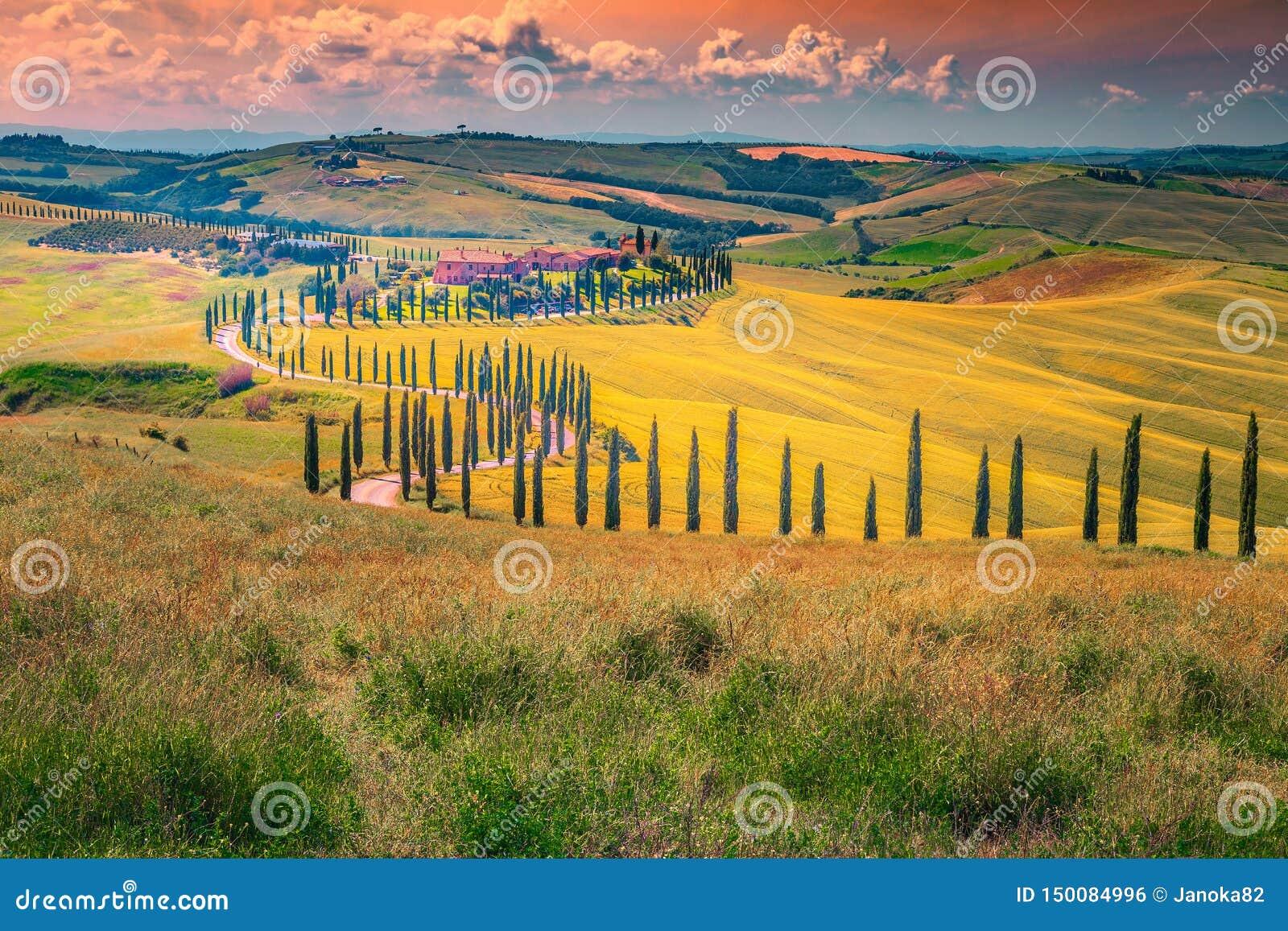 Идилличный ландшафт Тосканы на заходе солнца с изогнутой сельской дорогой, Италией
