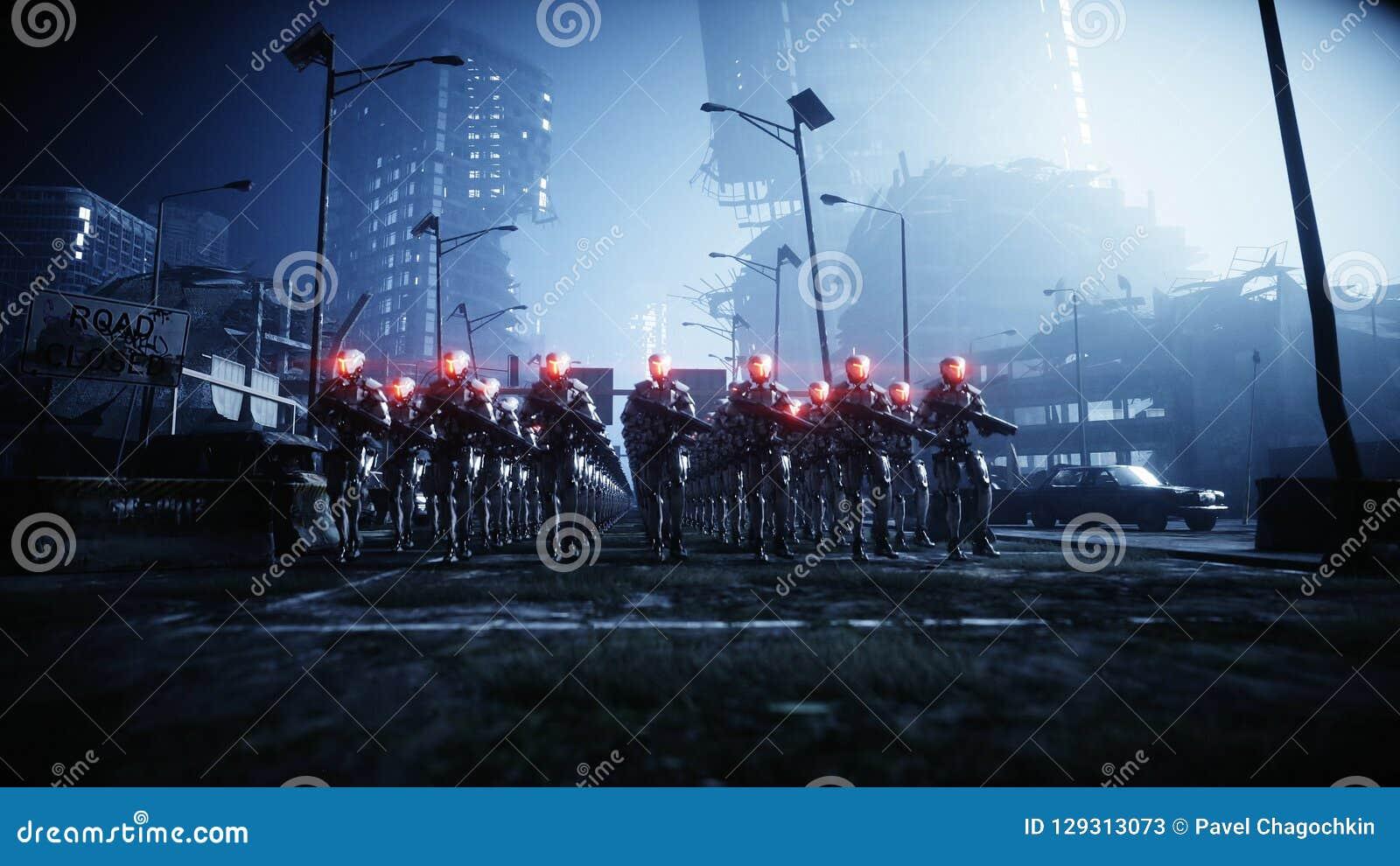 Идя воинские роботы Нашествие воинских роботов Концепция драматического апокалипсиса супер реалистическая Будущее перевод 3d