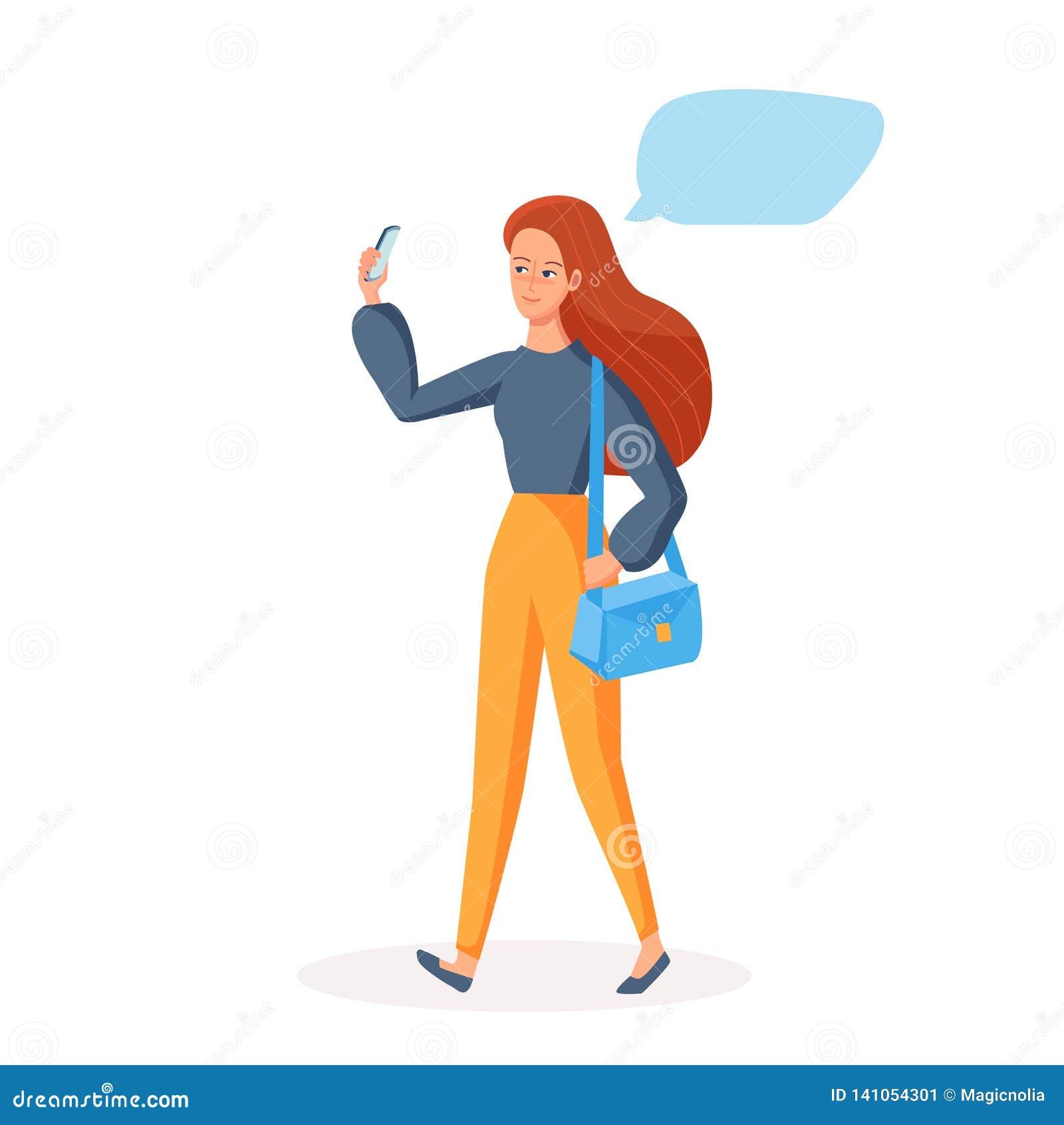 Идя девушка используя мобильный телефон с местом цитаты пустым Социальная концепция связи для принимать selfie, видео- звонок шар