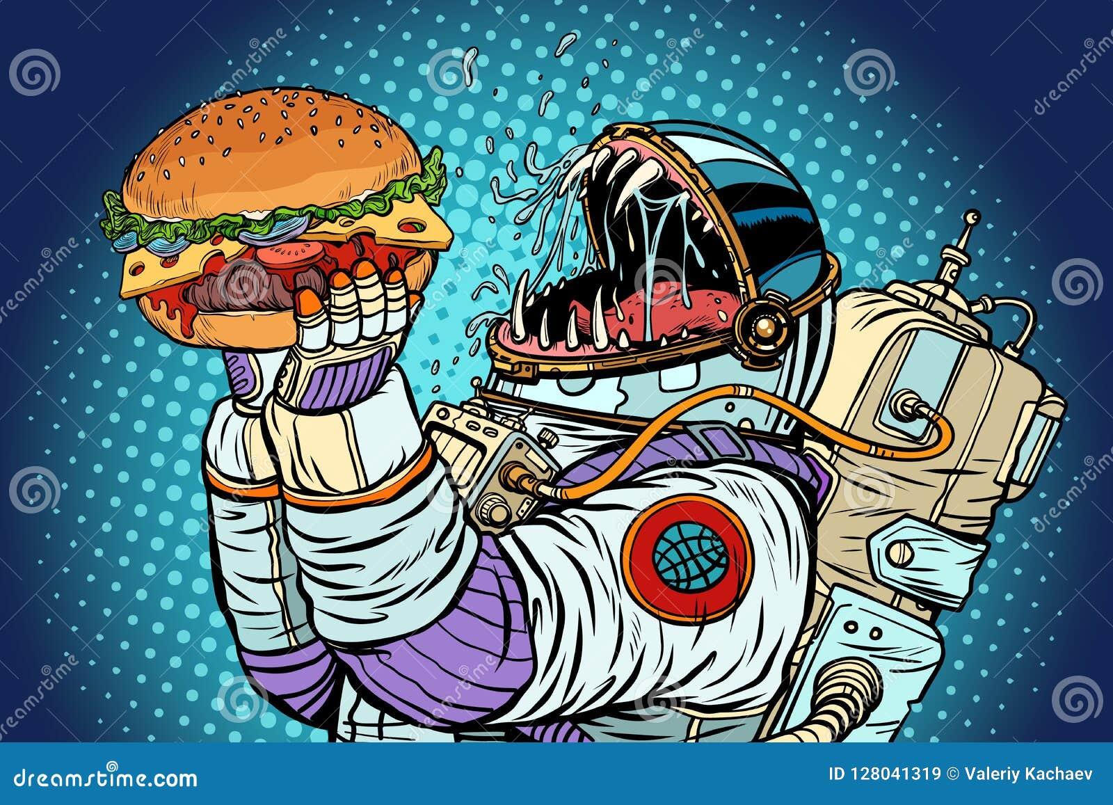 Изверг астронавта ест бургер Жадность и голод conce человечества