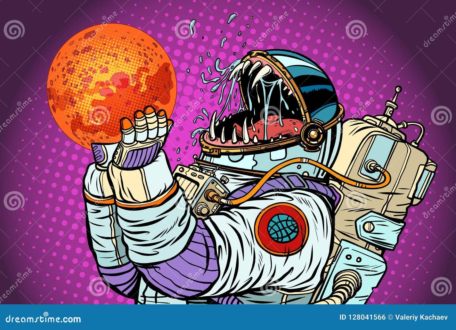 Изверг астронавта ест Марс Жадность и голод концепции человечества