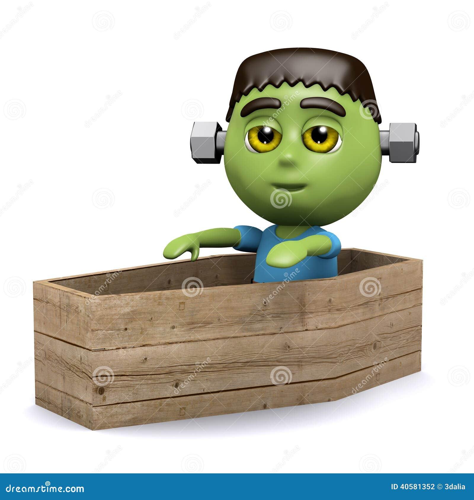изверг 3d Frankenstein в гробе