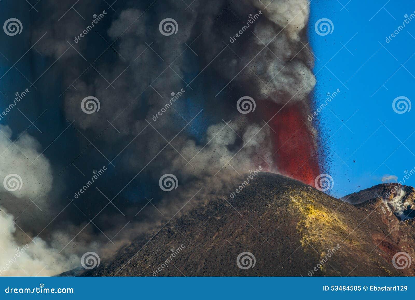 Извержение Этна вулкана