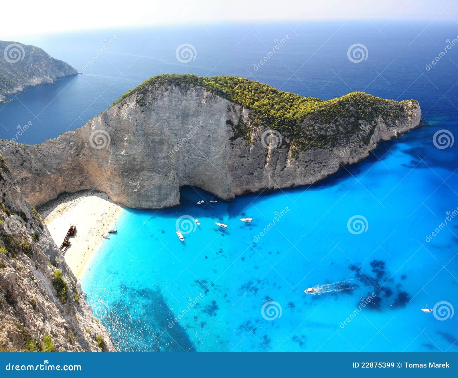 Известный пляж Navagio, Zakynthos, Греция