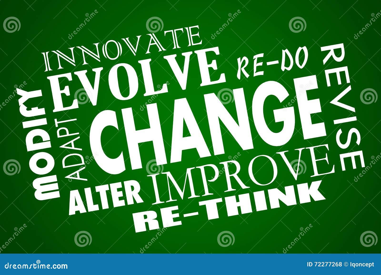 Download Изменение приспосабливается эволюционирует улучшает переосмысливает коллаж слова Иллюстрация штока - иллюстрации насчитывающей дорабатывать, изменяющ: 72277268