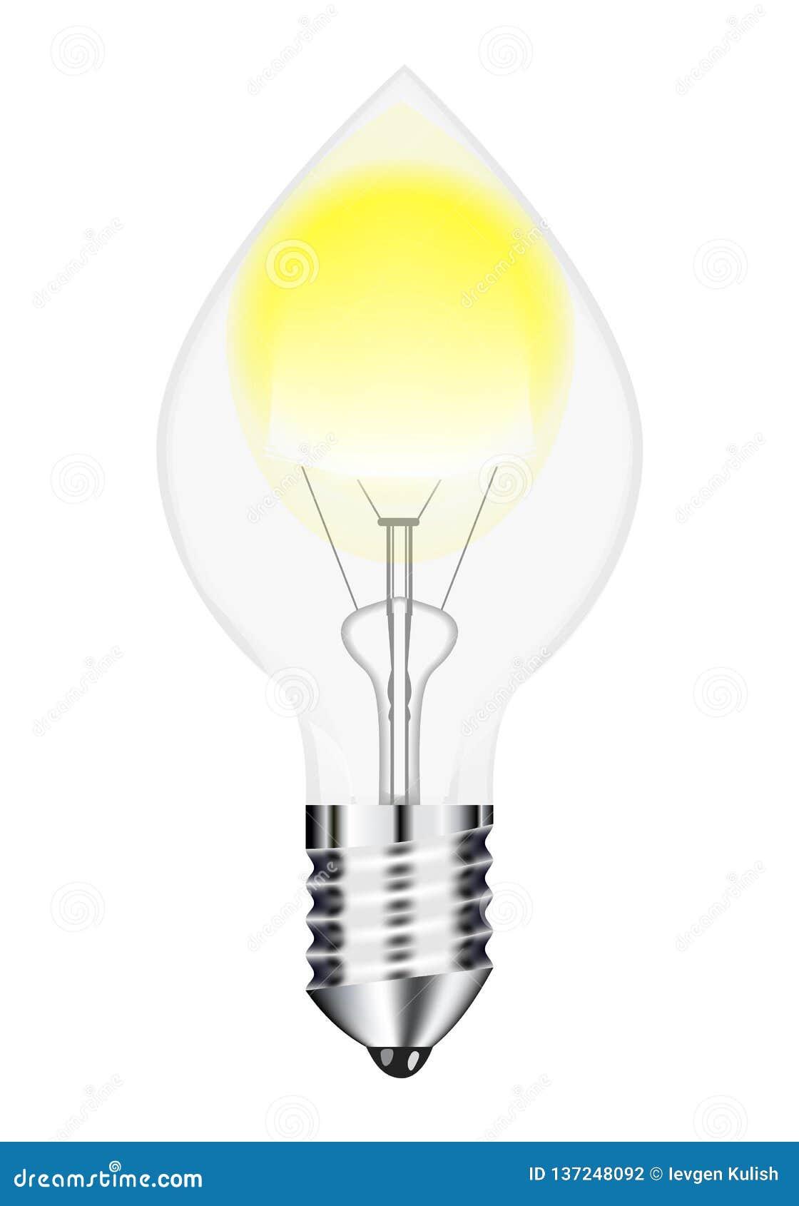 Изображение вектора, рисуя нить электрической лампы с белой предпосылкой