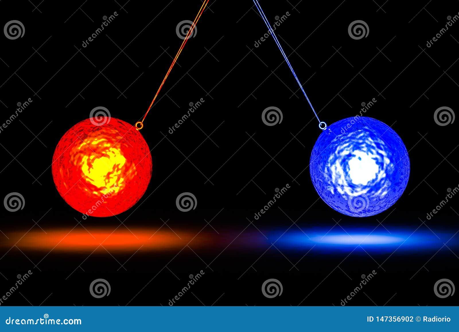 Изображение концепции показывая столкновение с 2 файрболами