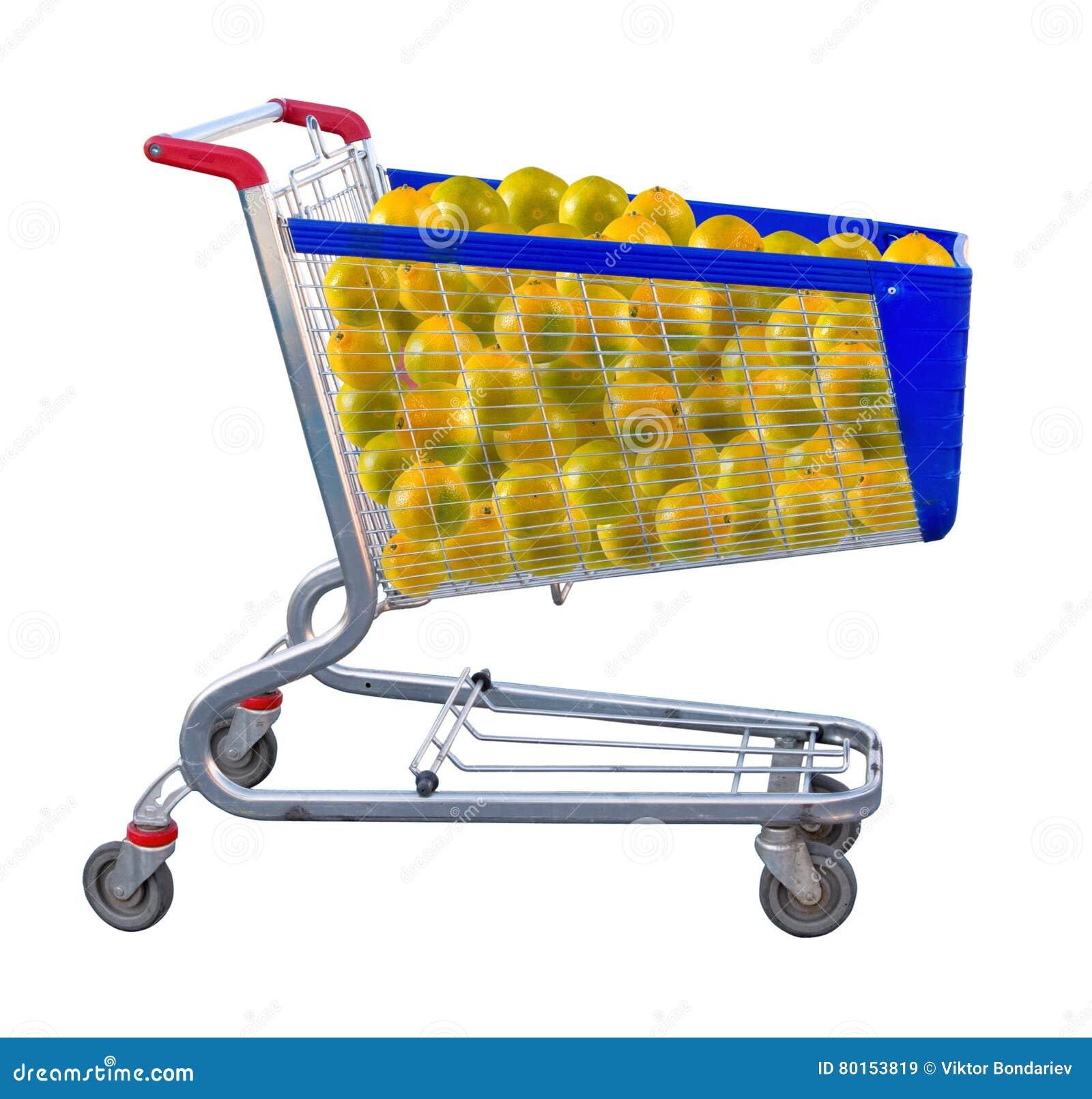 Изображение много апельсинов в конце-вверх тележки продукта