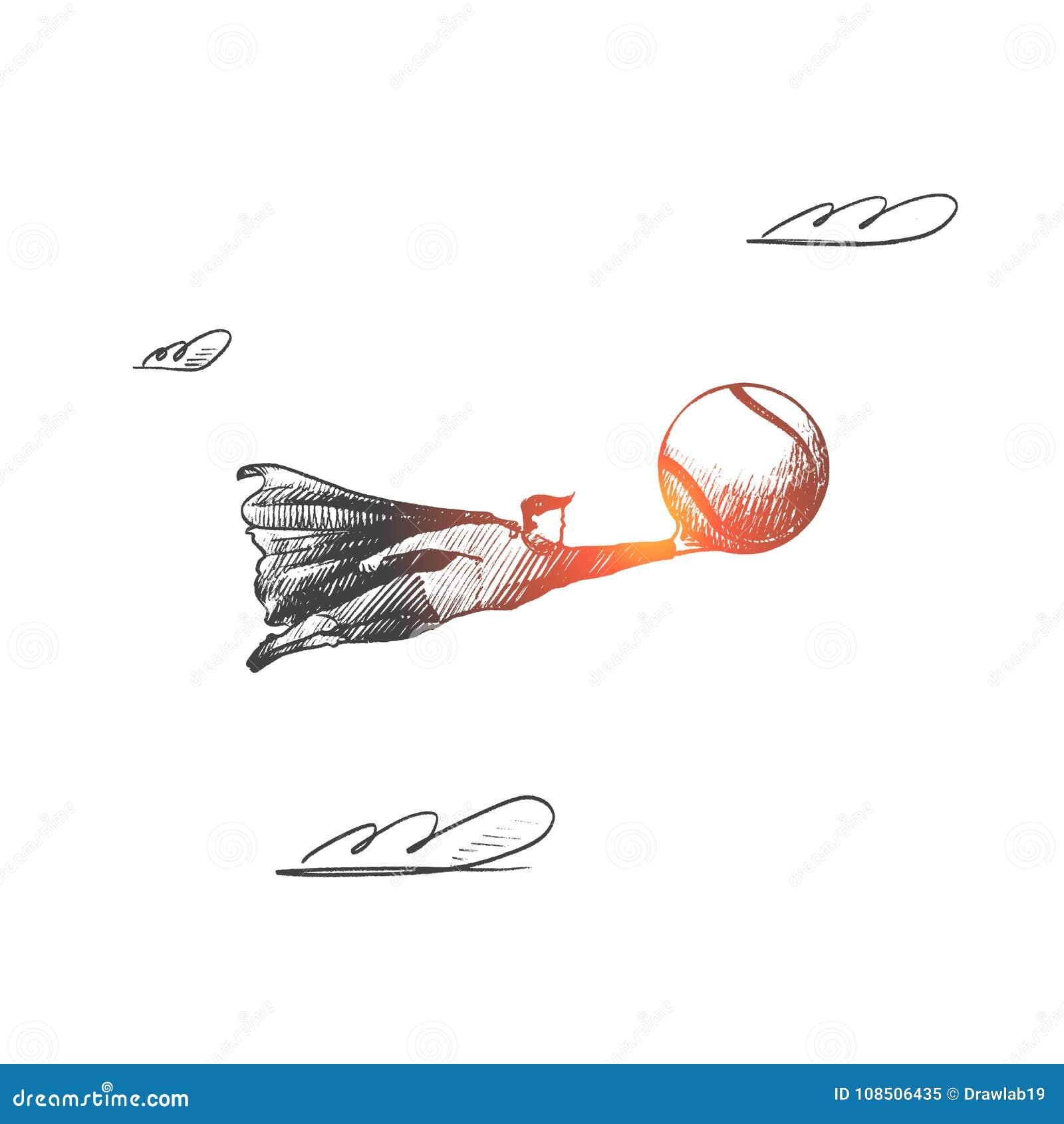 изображение тенниса concept Вектор нарисованный рукой изолированный